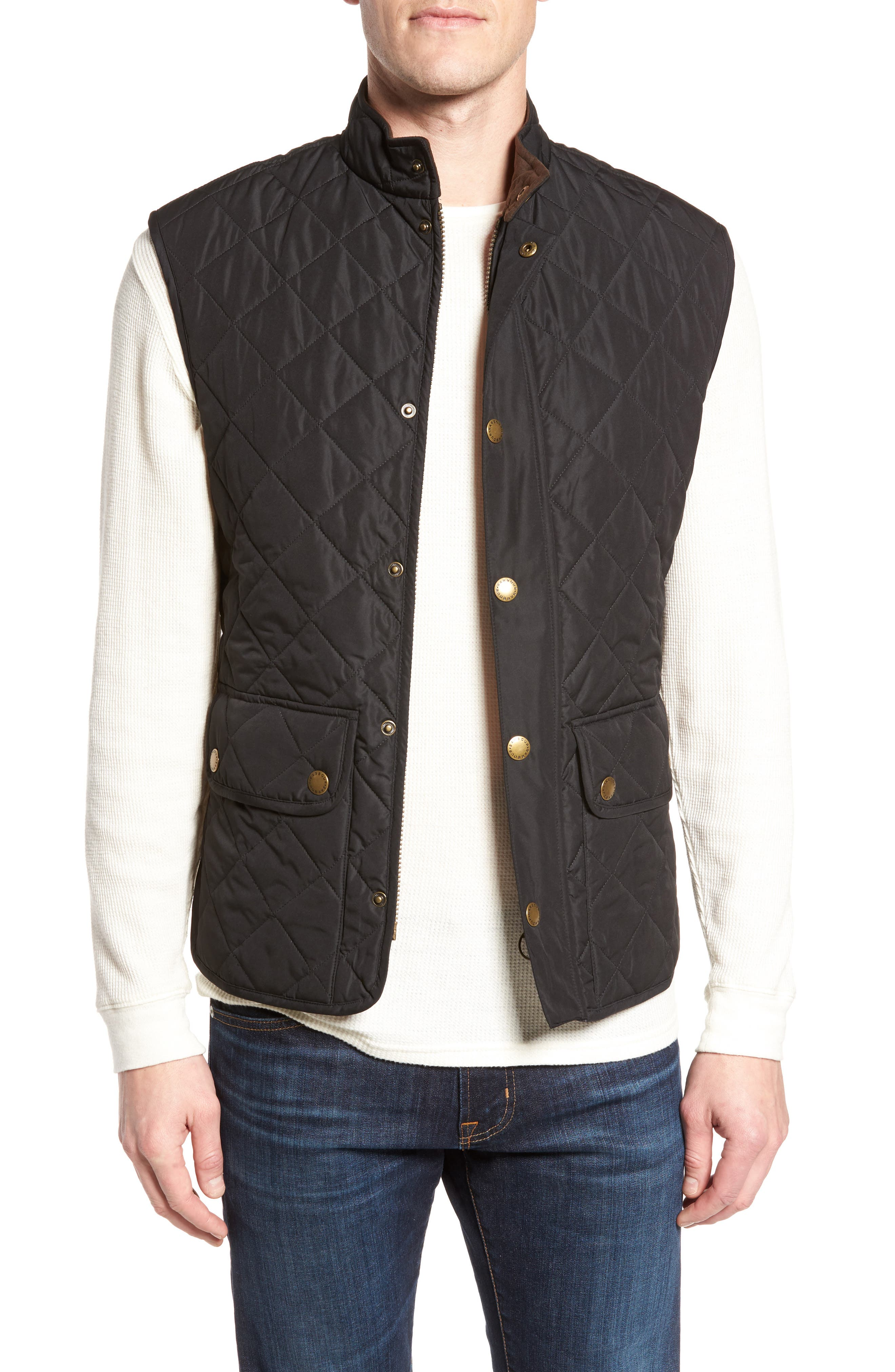 'Lowerdale' Trim Fit Quilted Vest,                             Main thumbnail 1, color,                             Black/ Red