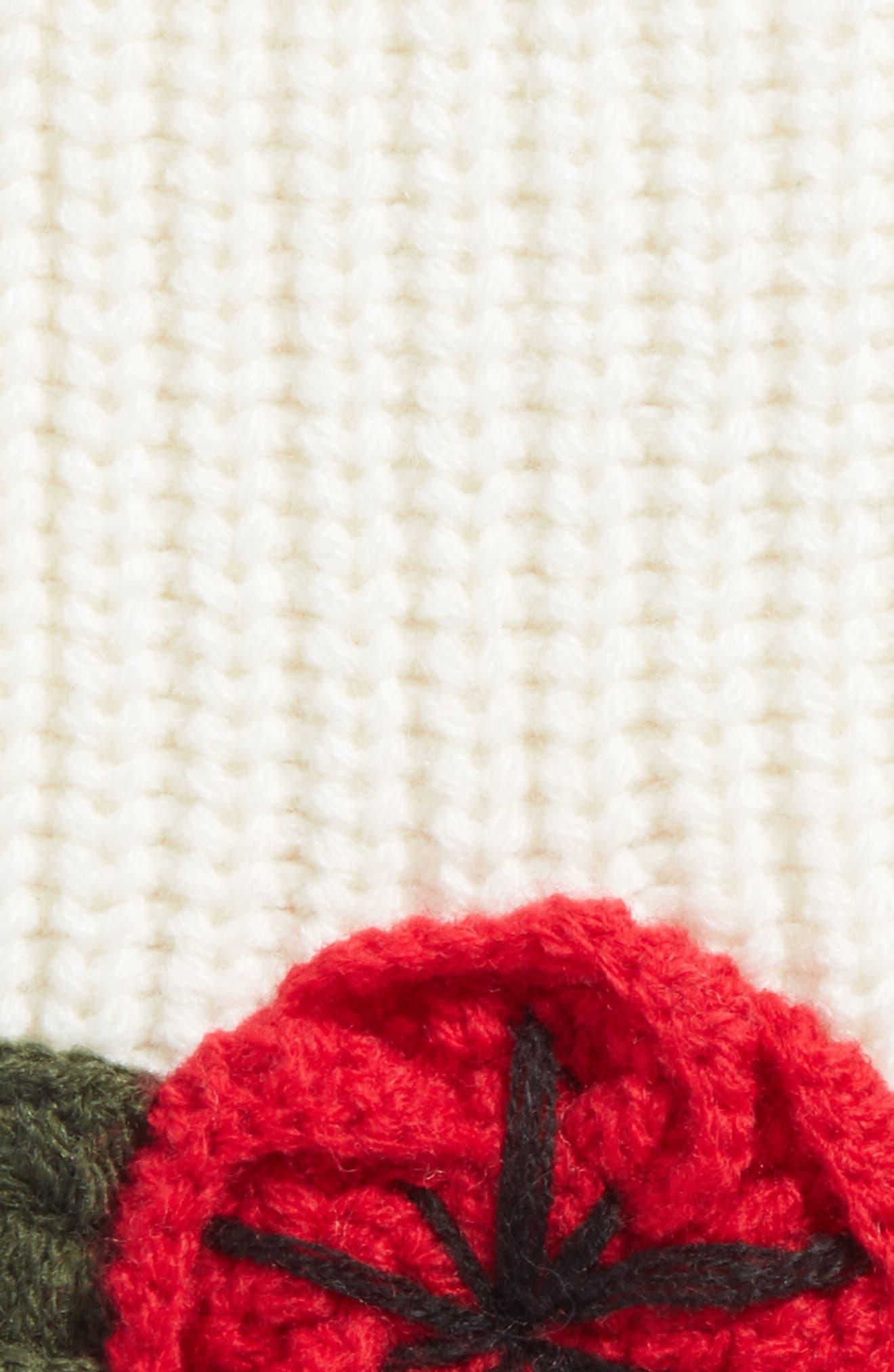 crocheted poppy arm warmers,                             Alternate thumbnail 2, color,                             Cream