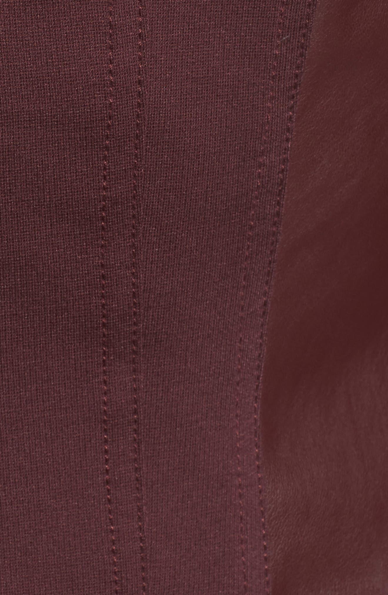 Drape Ponte Jacket,                             Alternate thumbnail 5, color,                             Bordeaux