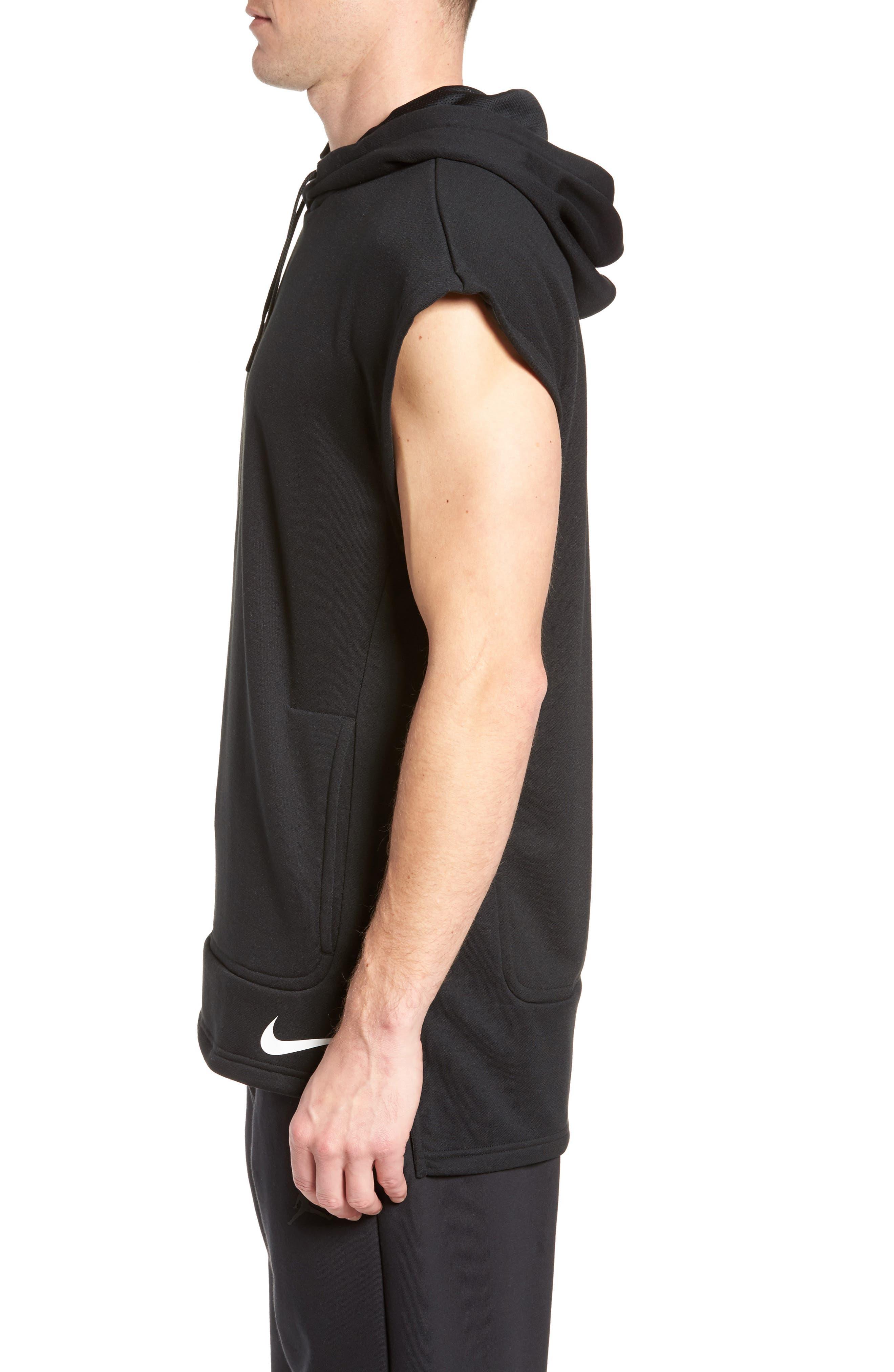 Training Dry Top PX Sleeveless Hoodie,                             Alternate thumbnail 3, color,                             Black/ Black/ White