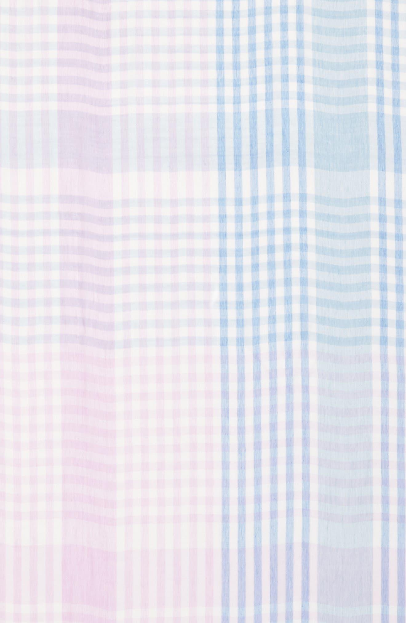 Yarn Dyed Stripe Wrap,                             Alternate thumbnail 4, color,                             Purple Combo Mini Check Wrap