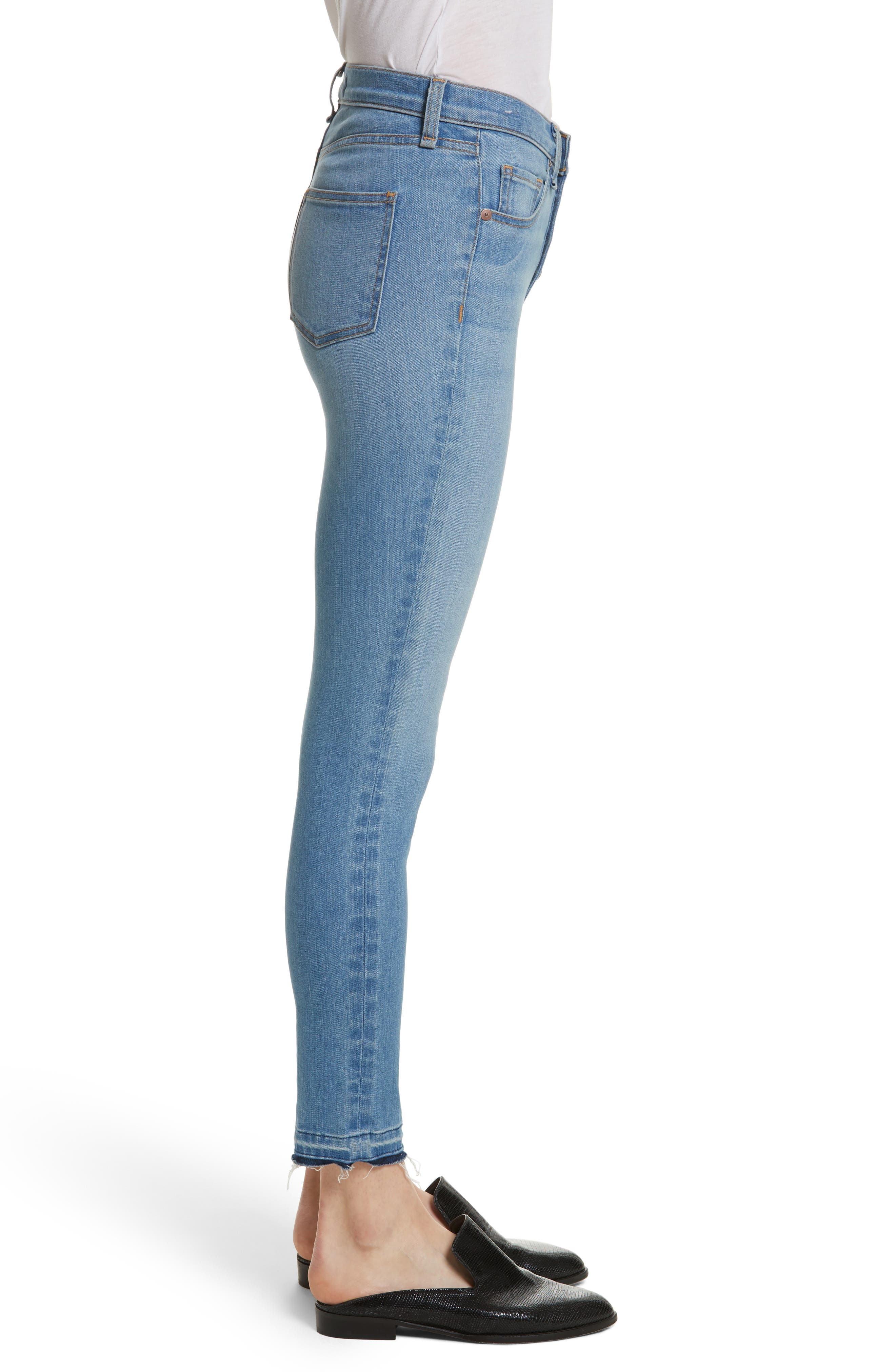 Debbie High Waist Fray Hem Jeans,                             Alternate thumbnail 3, color,                             Retro Blue