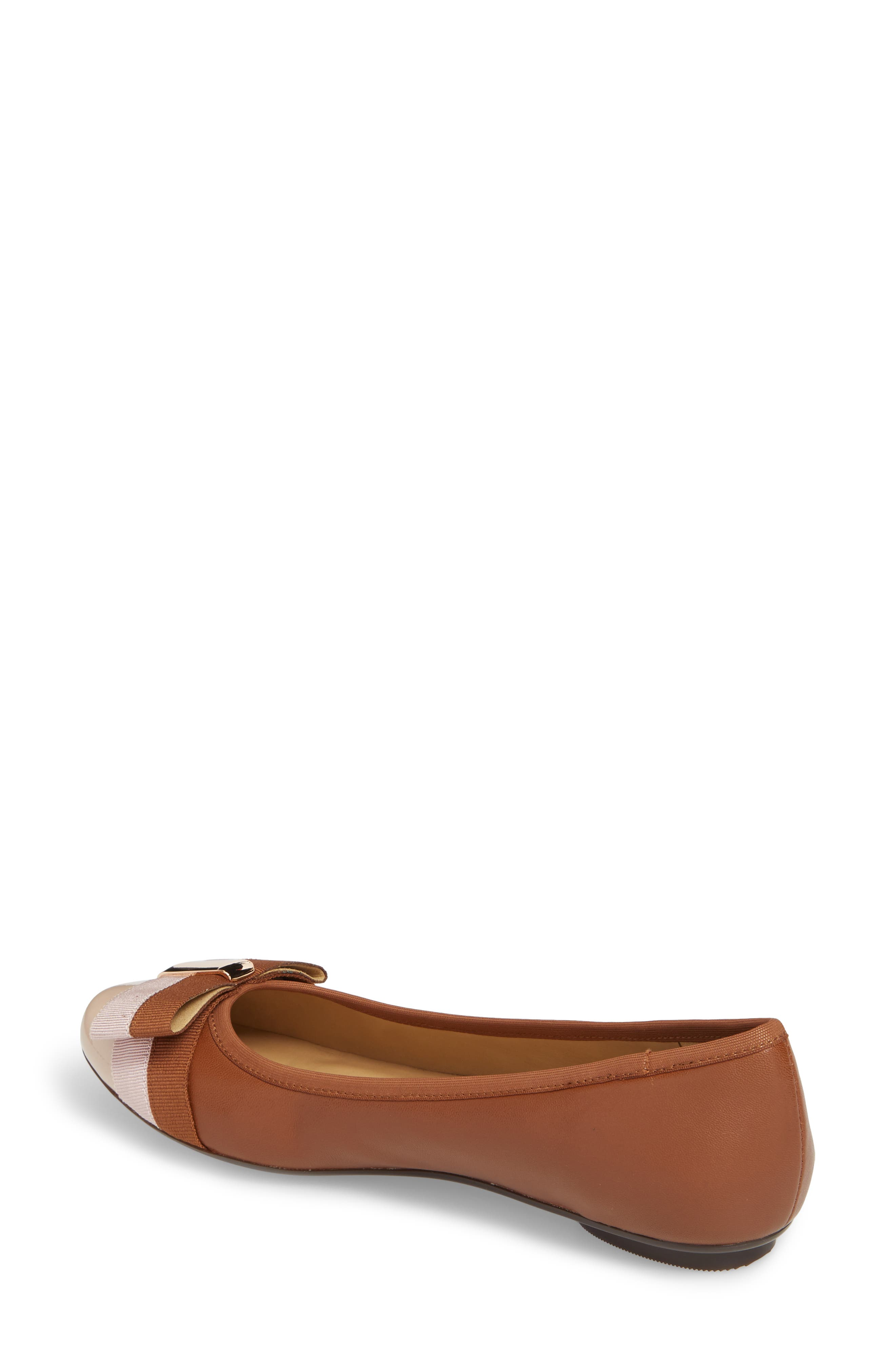 Salia Bow Flat,                             Alternate thumbnail 2, color,                             Cognac Leather