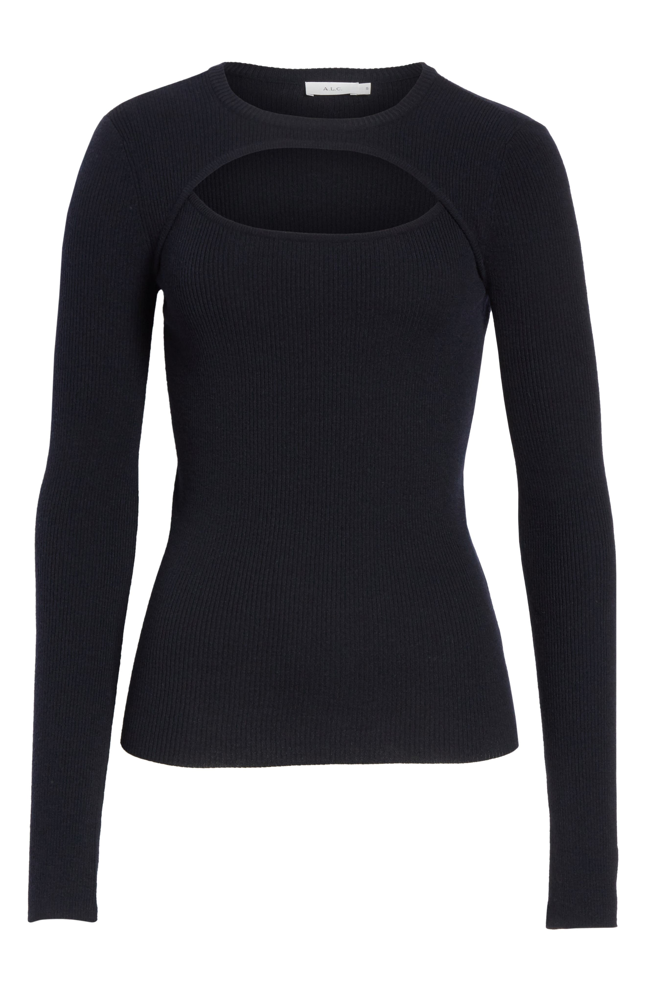 Nell Cutout Merino Wool Blend Sweater,                             Alternate thumbnail 6, color,                             Navy