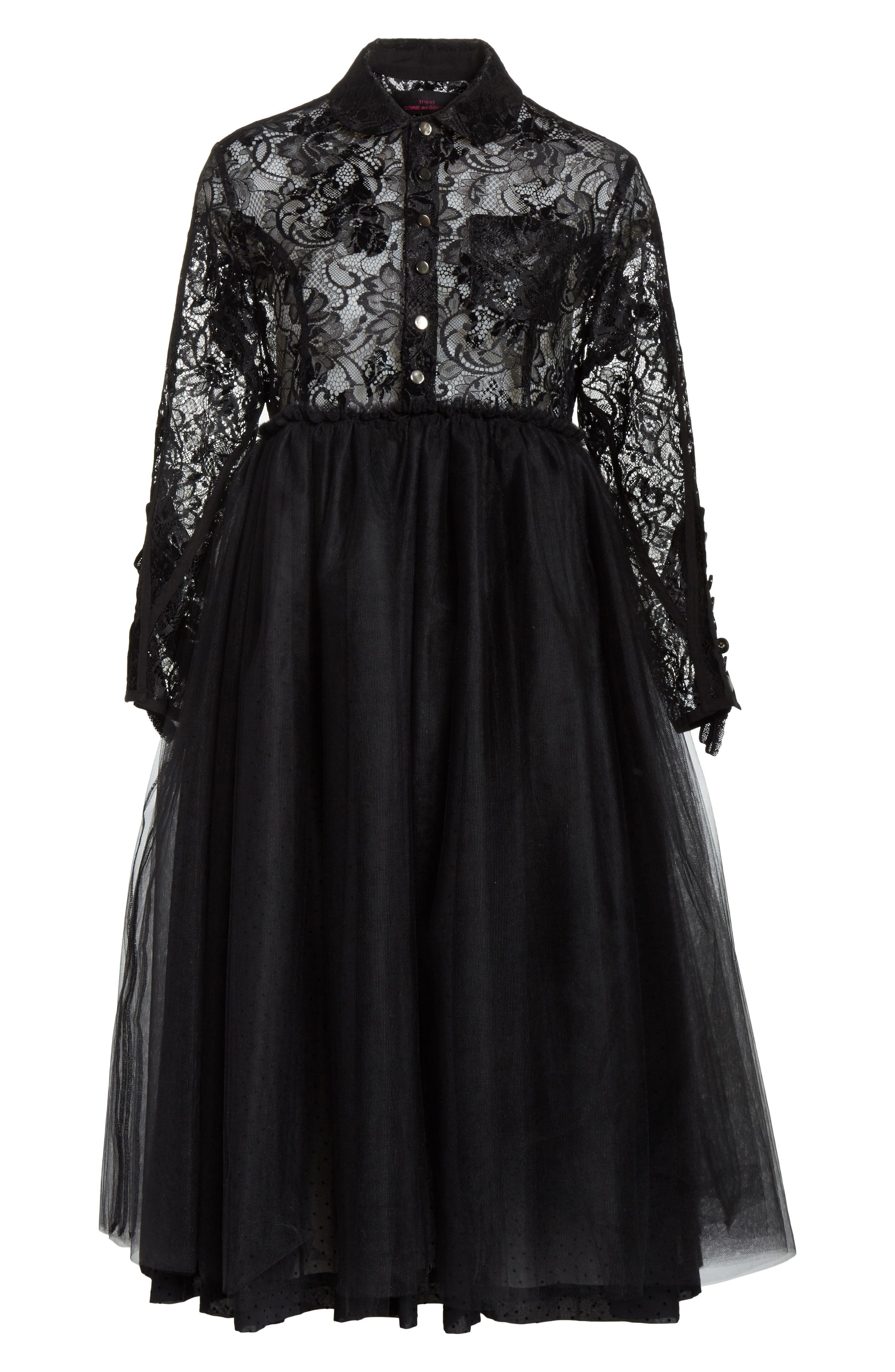 Lace Bodice Shirtdress with Tulle Skirt,                             Alternate thumbnail 7, color,                             Blk/Blk X Blk