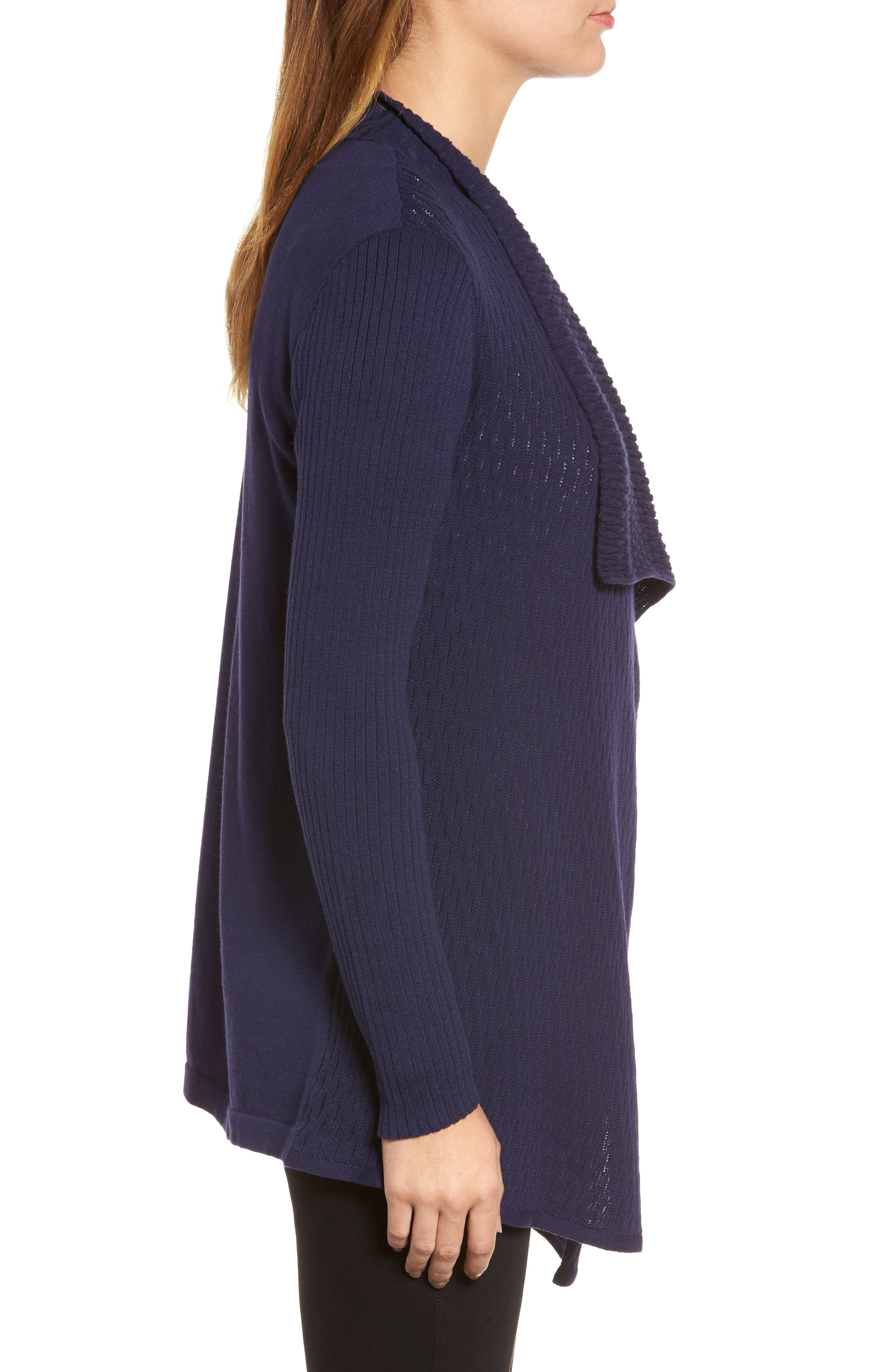 Novelty Stitch Drape Front Cardigan,                             Alternate thumbnail 3, color,                             Evening Na