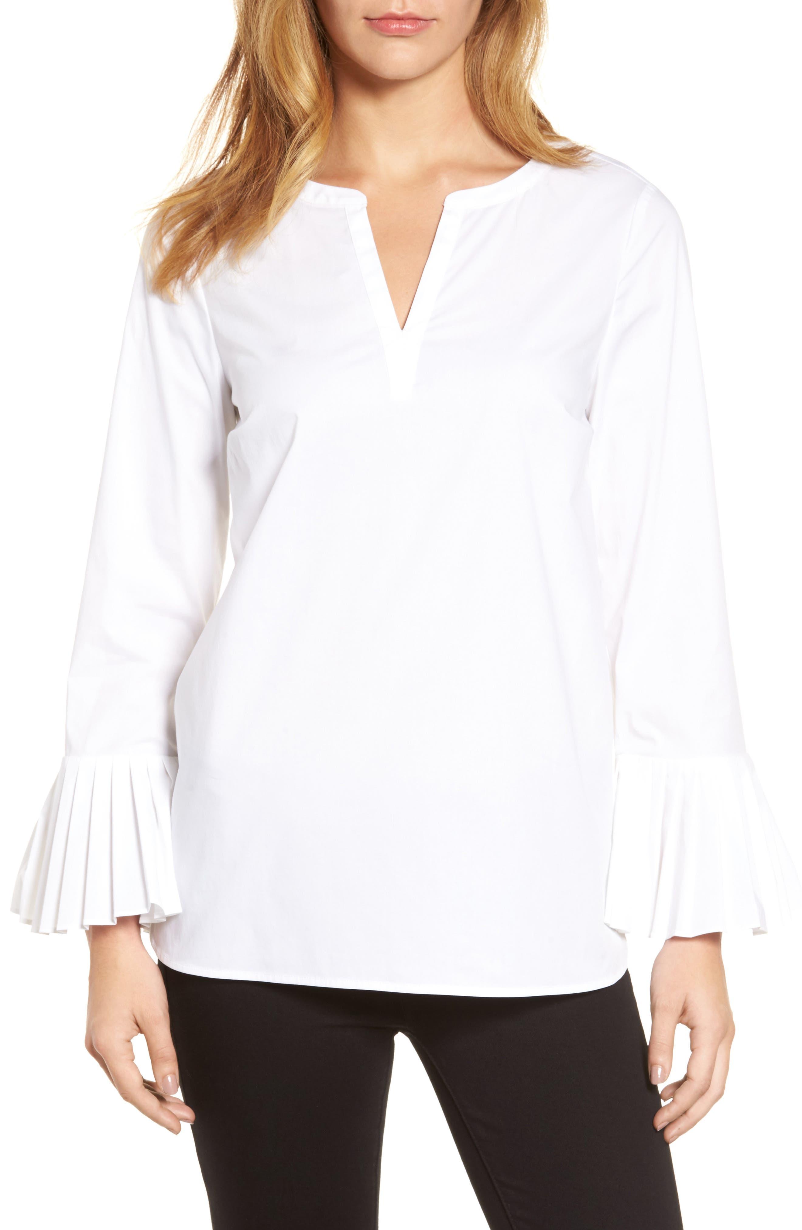 Main Image - Chaus Pleat Sleeve Shirttail Blouse