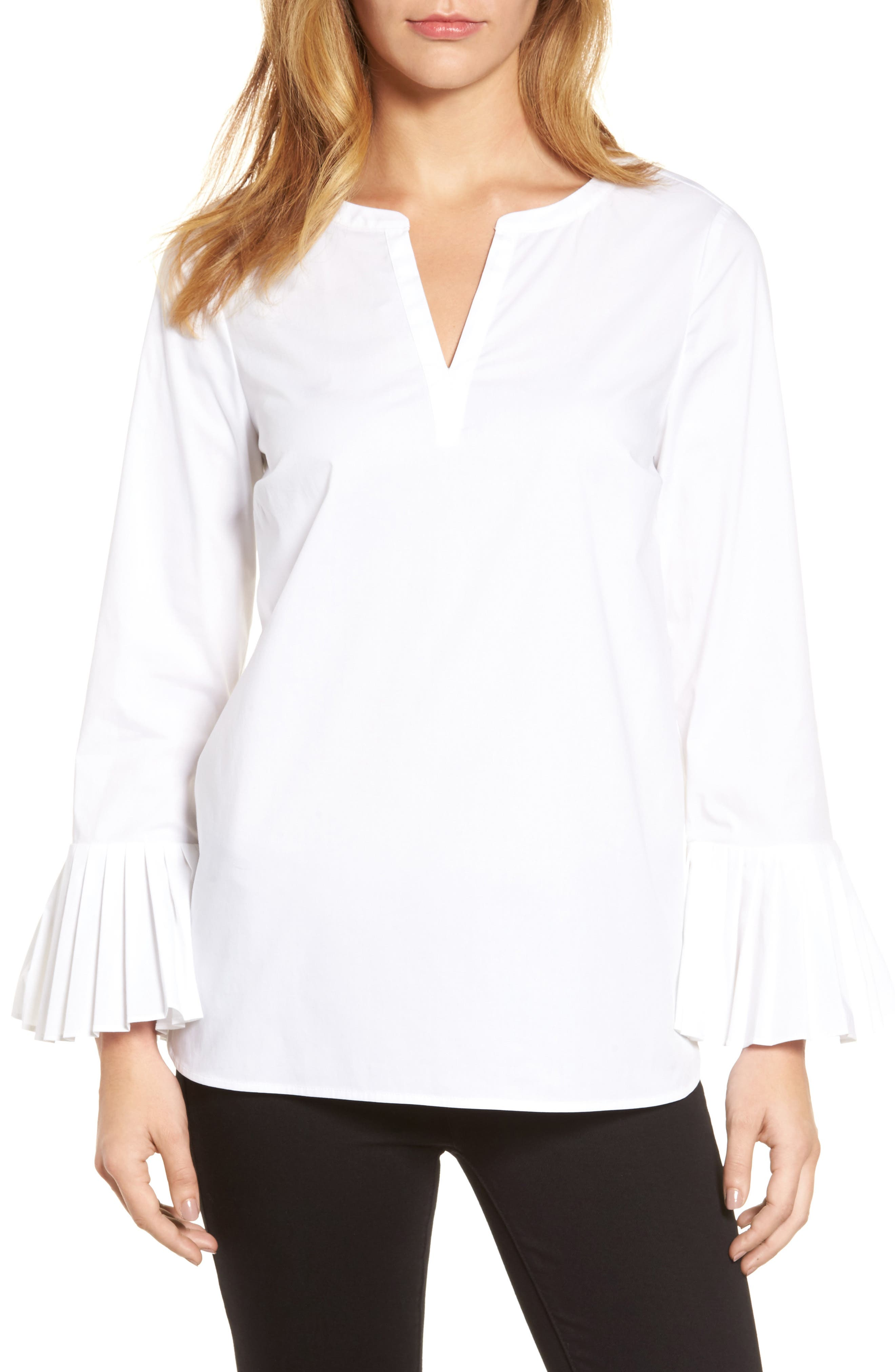 Chaus Pleat Sleeve Shirttail Blouse