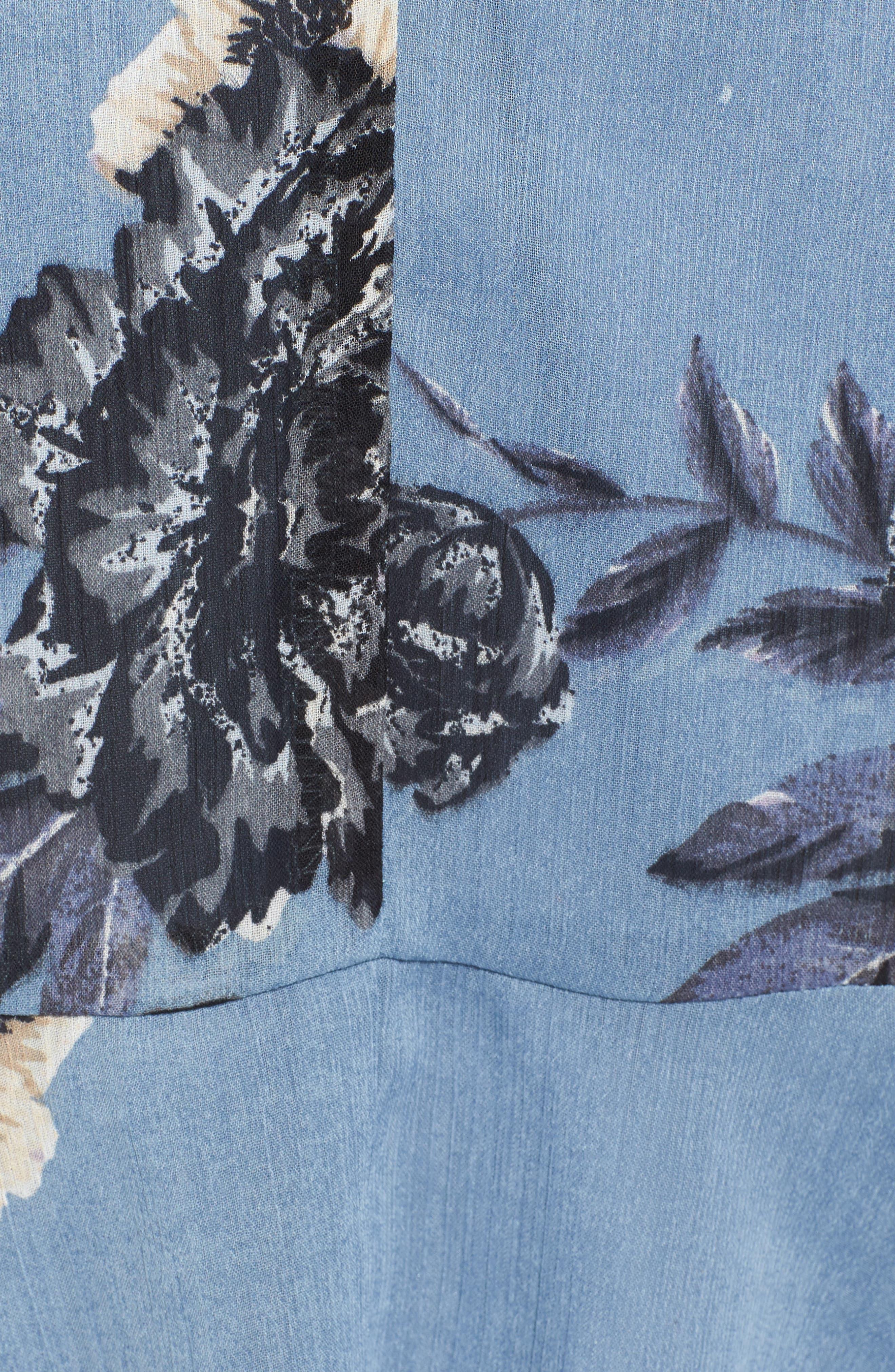 Floral Wrap Style Dress,                             Alternate thumbnail 5, color,                             Blue Print