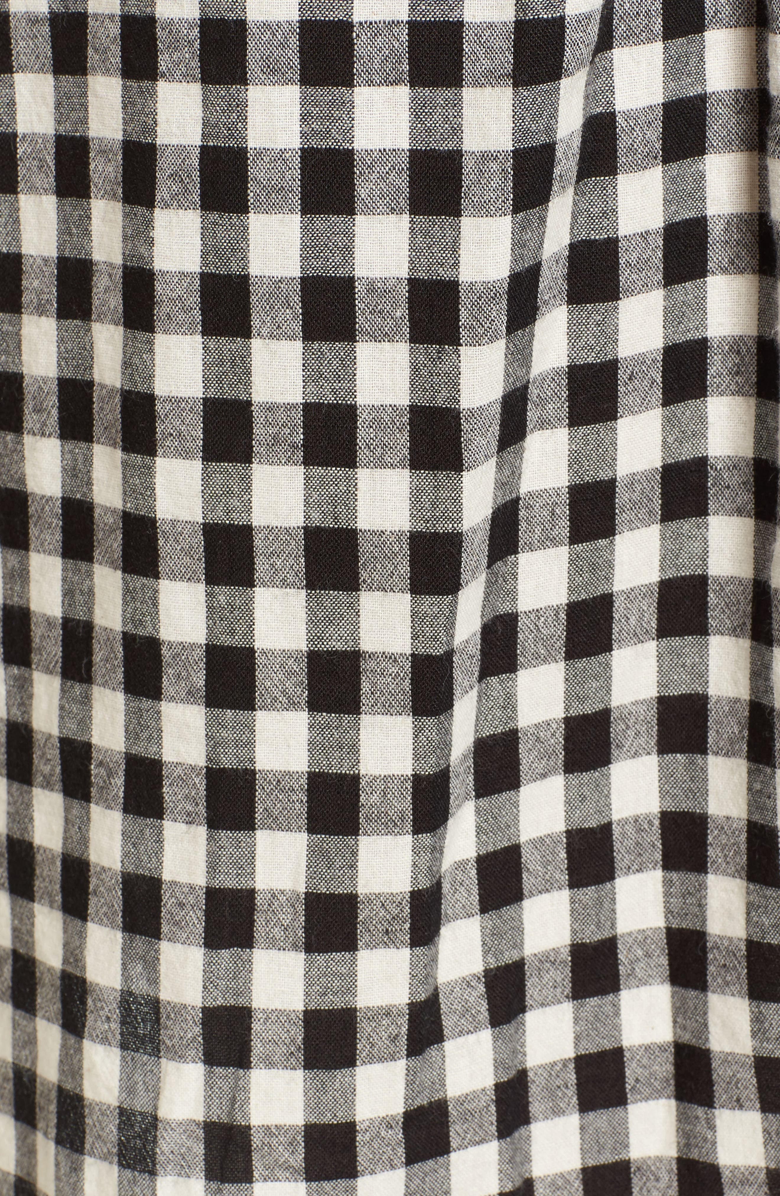 Lace-Up Gingham Dress,                             Alternate thumbnail 6, color,                             Black Gingham