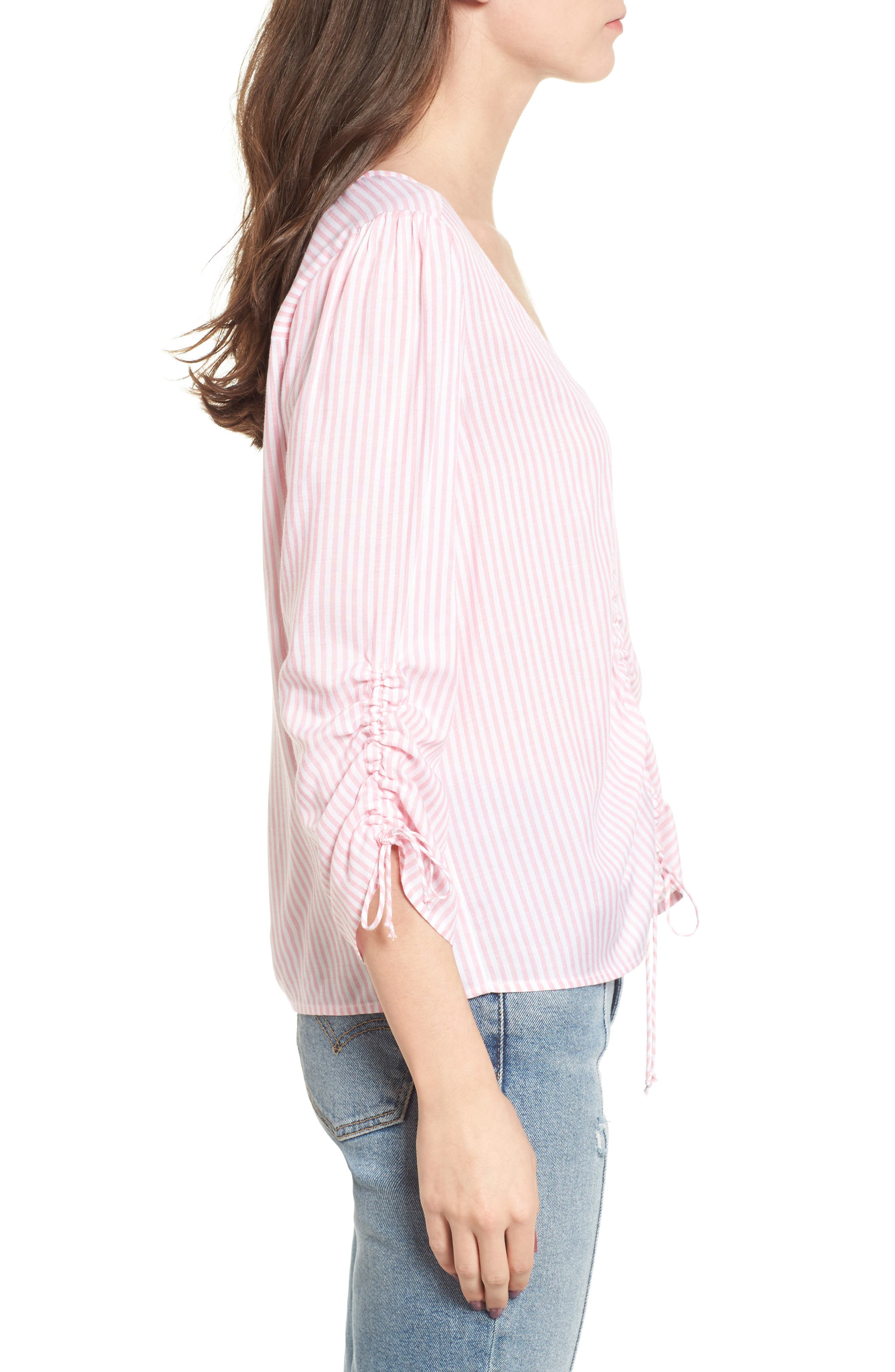 Stripe Cinched Front Top,                             Alternate thumbnail 3, color,                             Pink Stripe