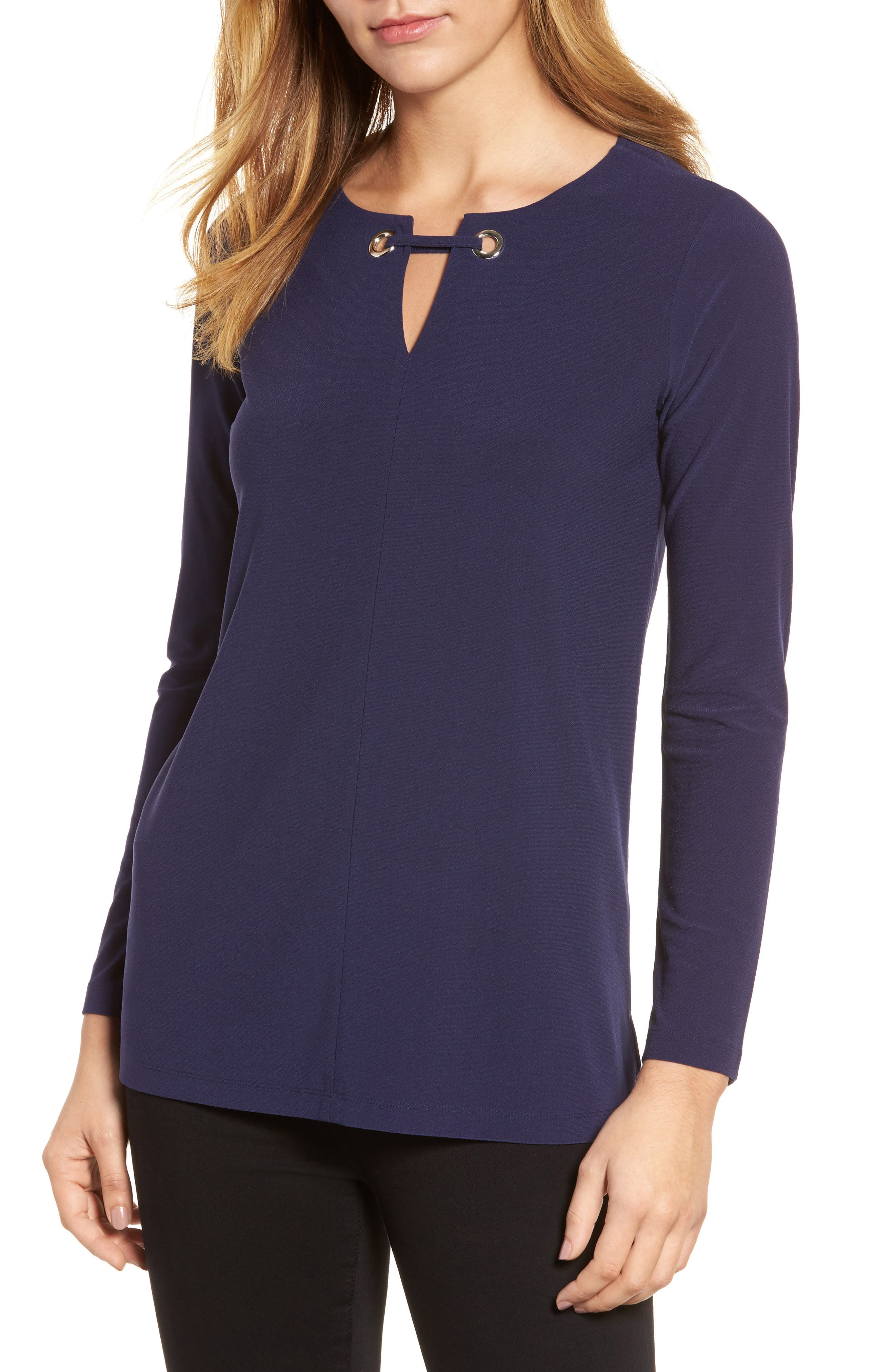 Keyhole Neck Top,                         Main,                         color, Evening Na