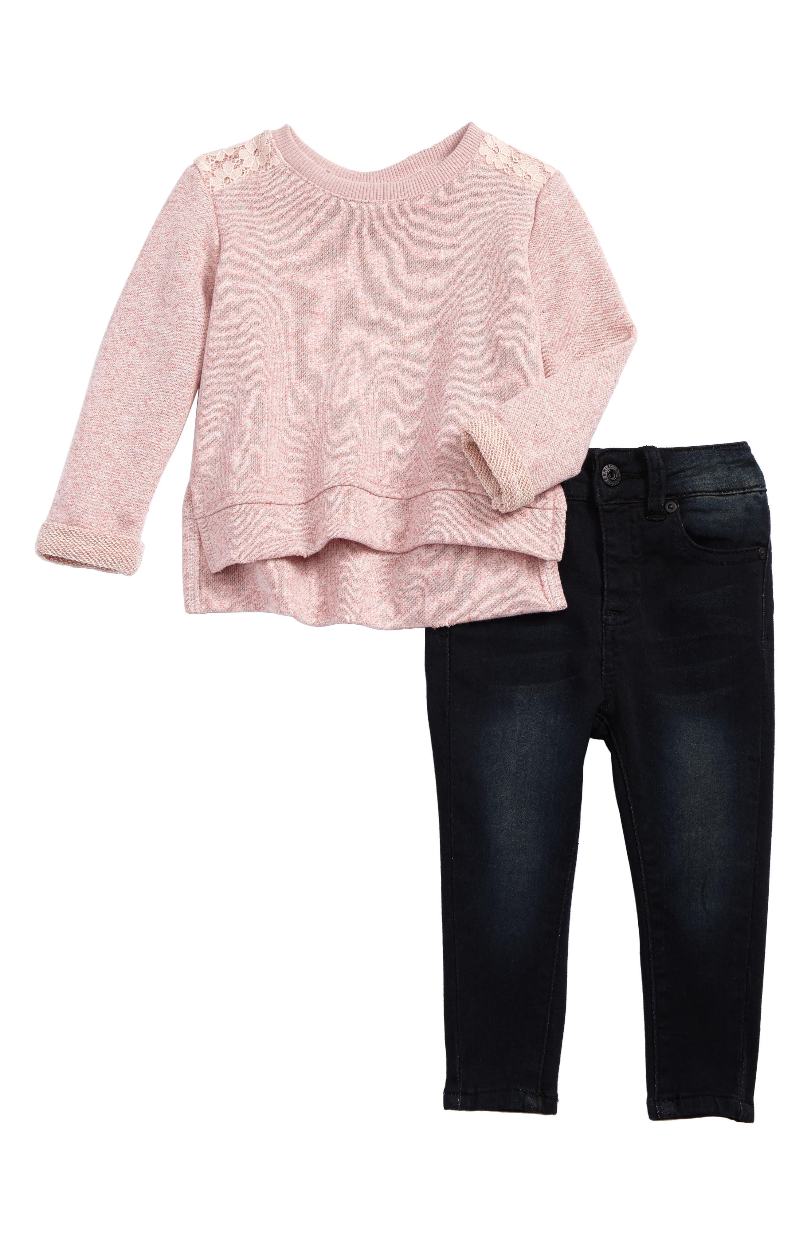 ag adriano goldschmied kids Lace Trim Sweatshirt & Jeans Set (Baby Girls)