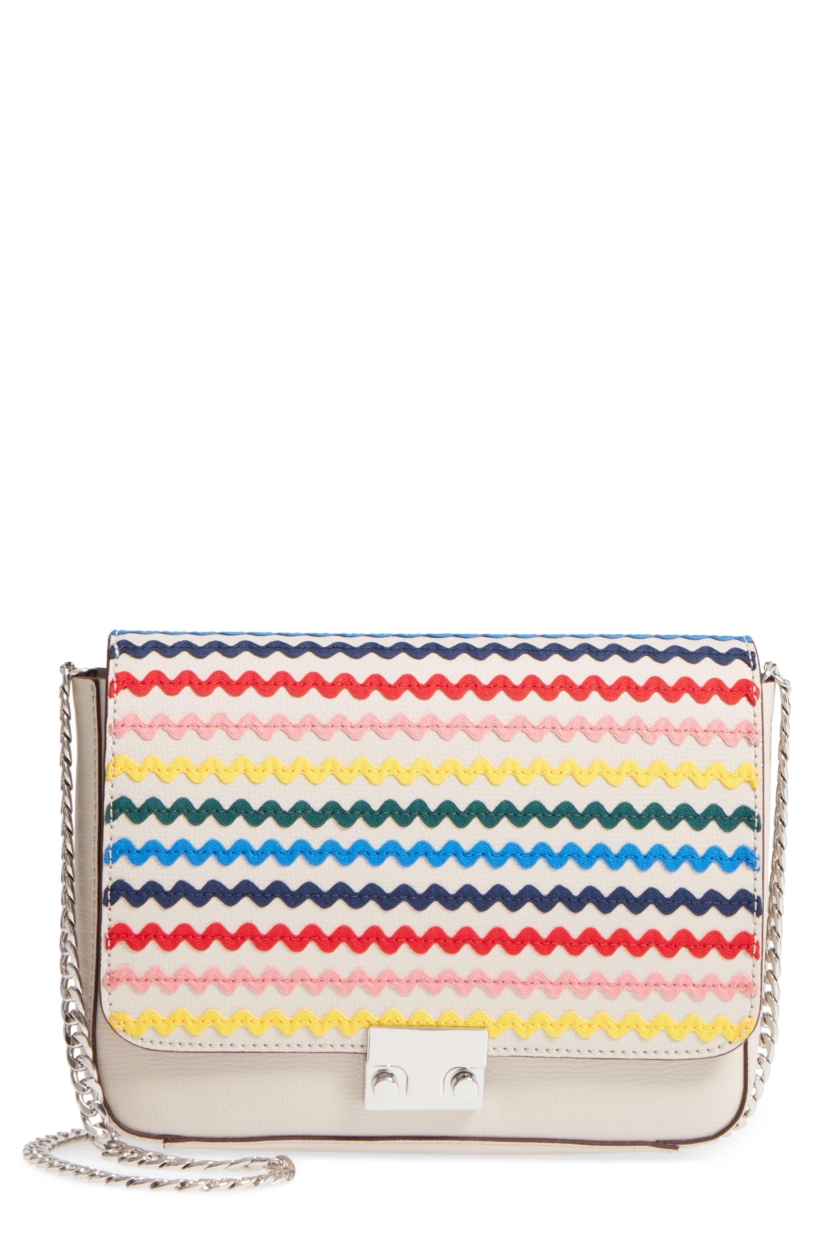 Lock Leather Flap Clutch/Shoulder Bag,                             Main thumbnail 1, color,                             Stone/ Rainbow
