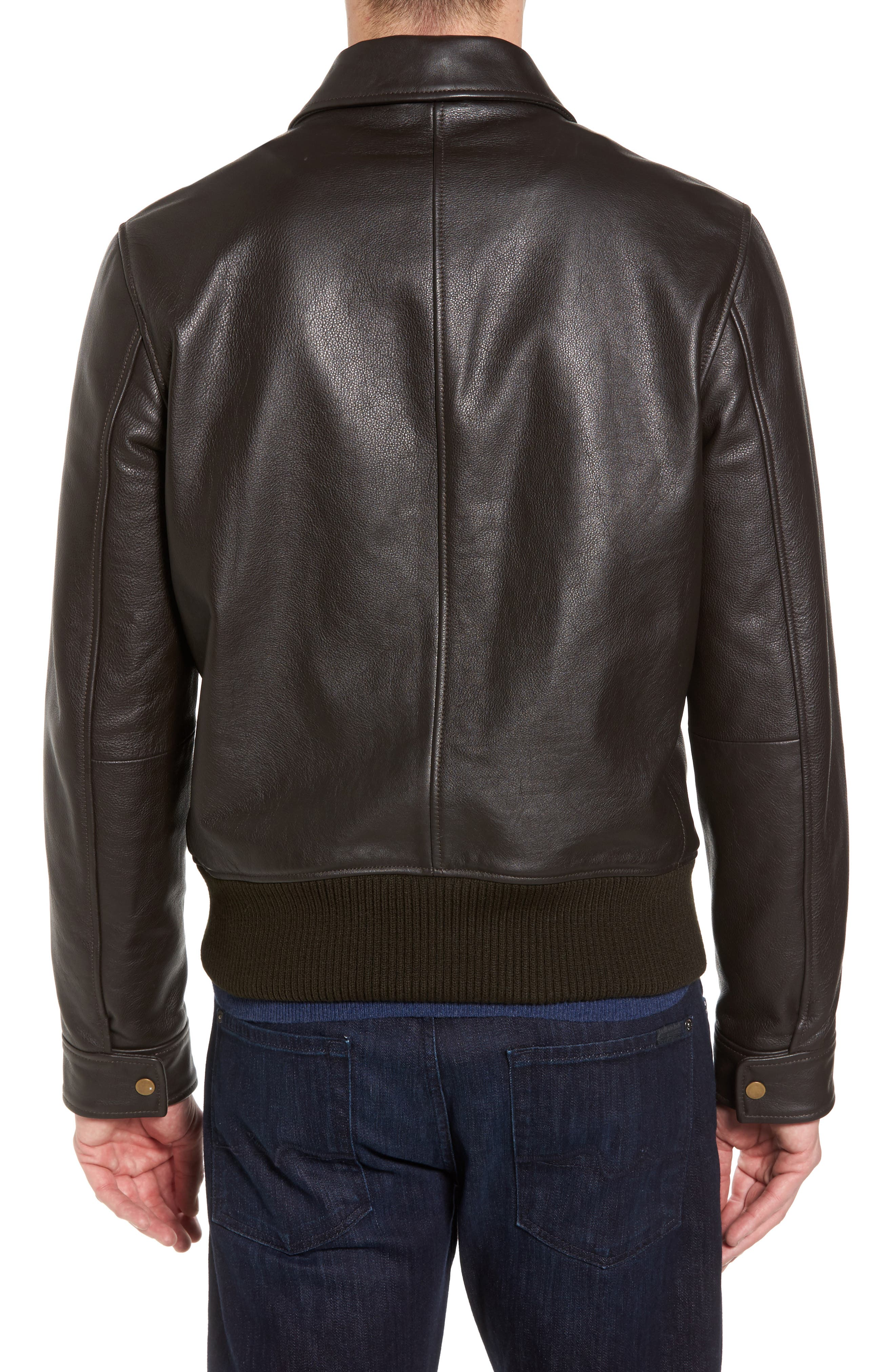 Year Round Leather Jacket,                             Alternate thumbnail 2, color,                             Espresso Brown