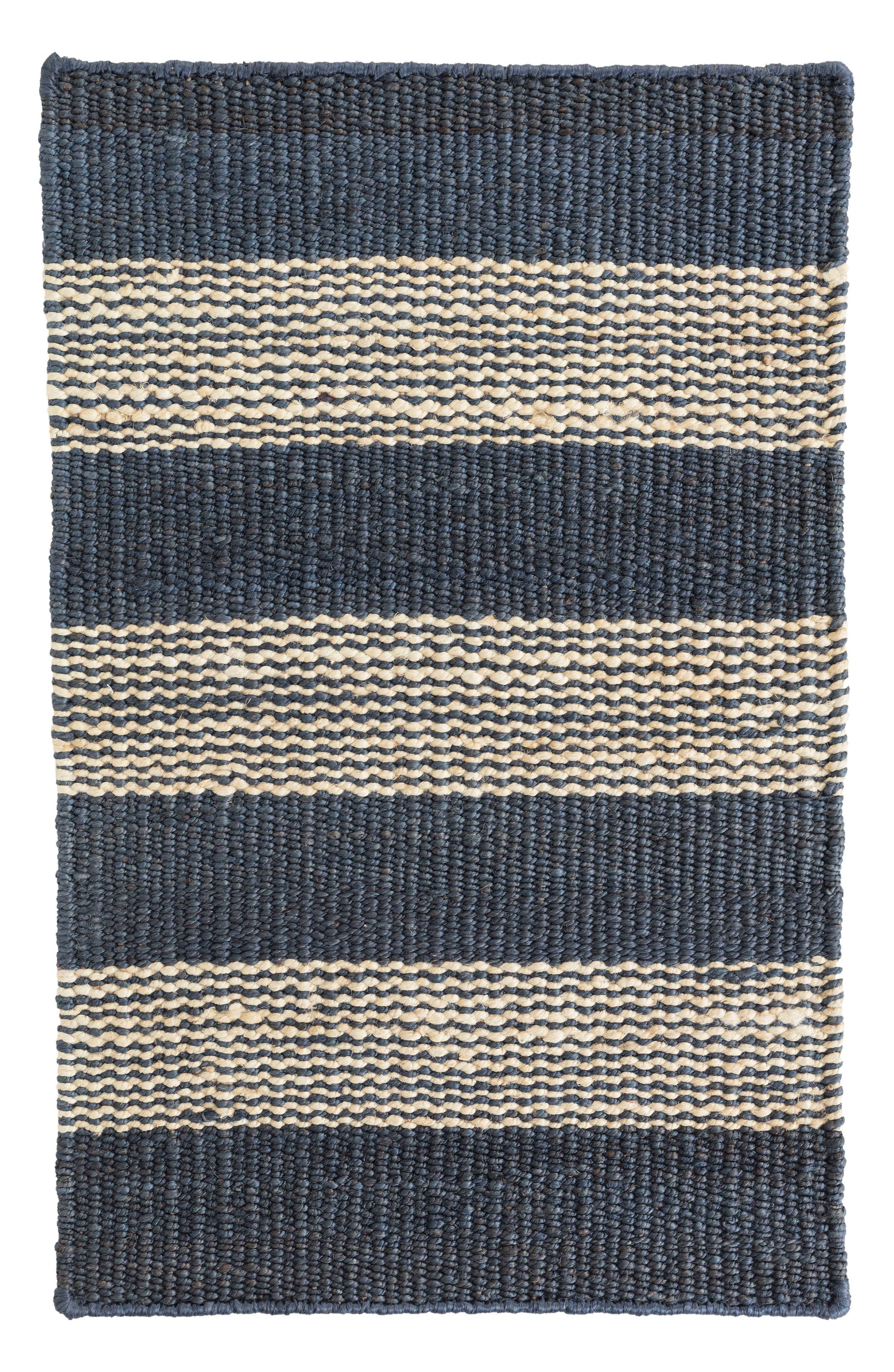 Denim Ticking Woven Rug,                             Main thumbnail 1, color,                             Blue