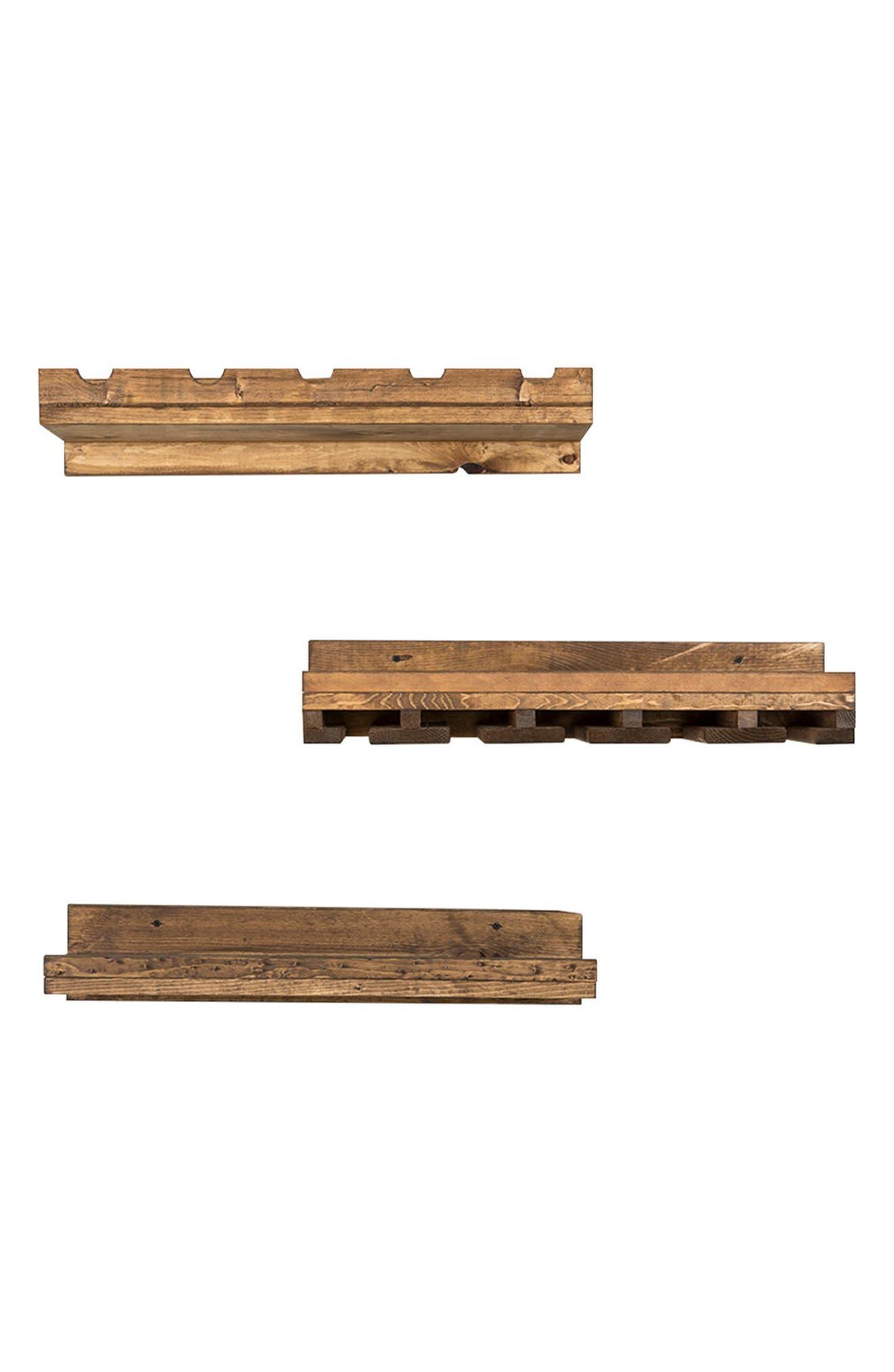 Set of 3 Pine Wood Wine Racks,                         Main,                         color, Dark Walnut