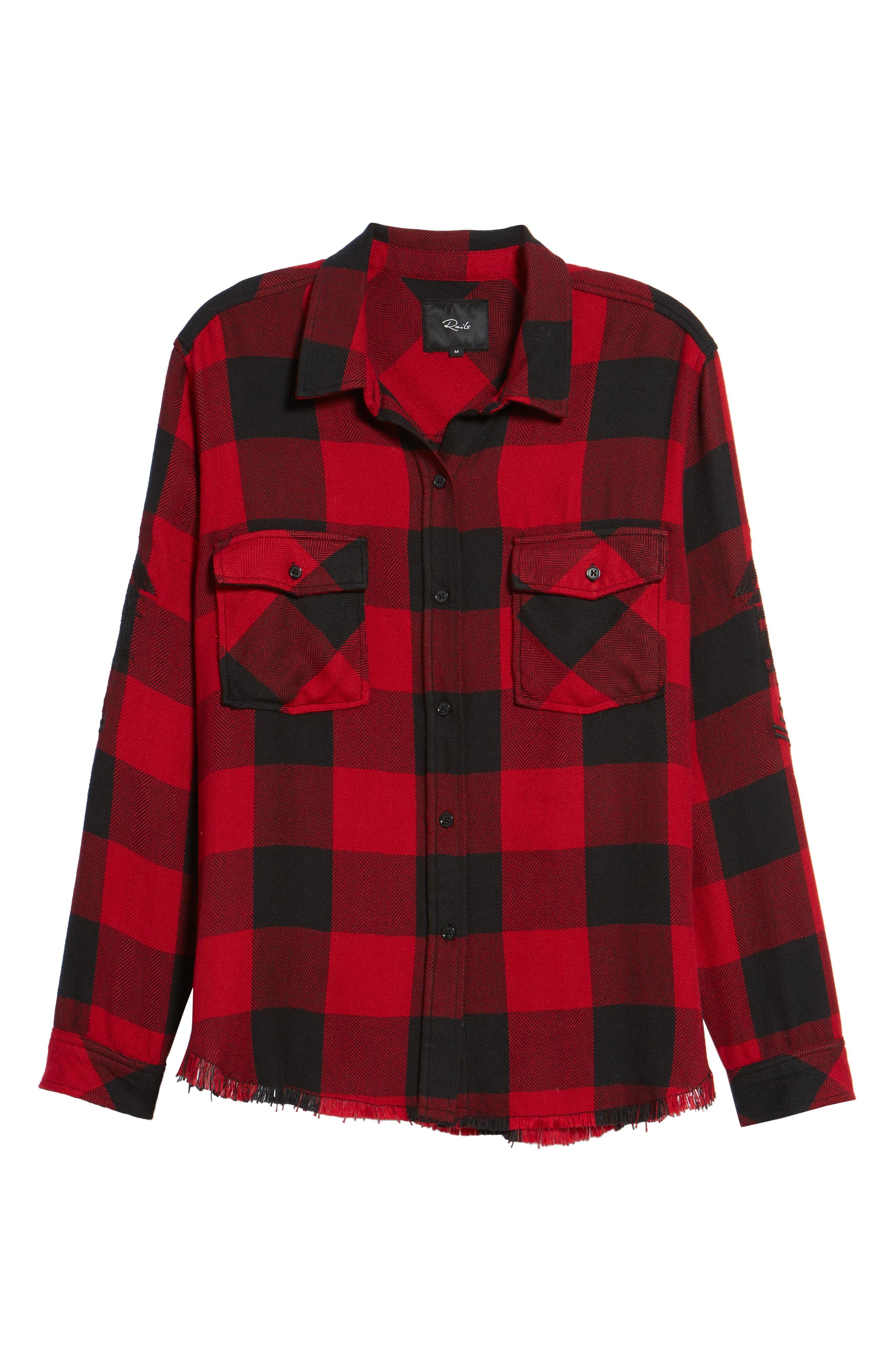 Larsson Embroidered Flannel Shirt,                             Alternate thumbnail 7, color,                             Crimson Jet