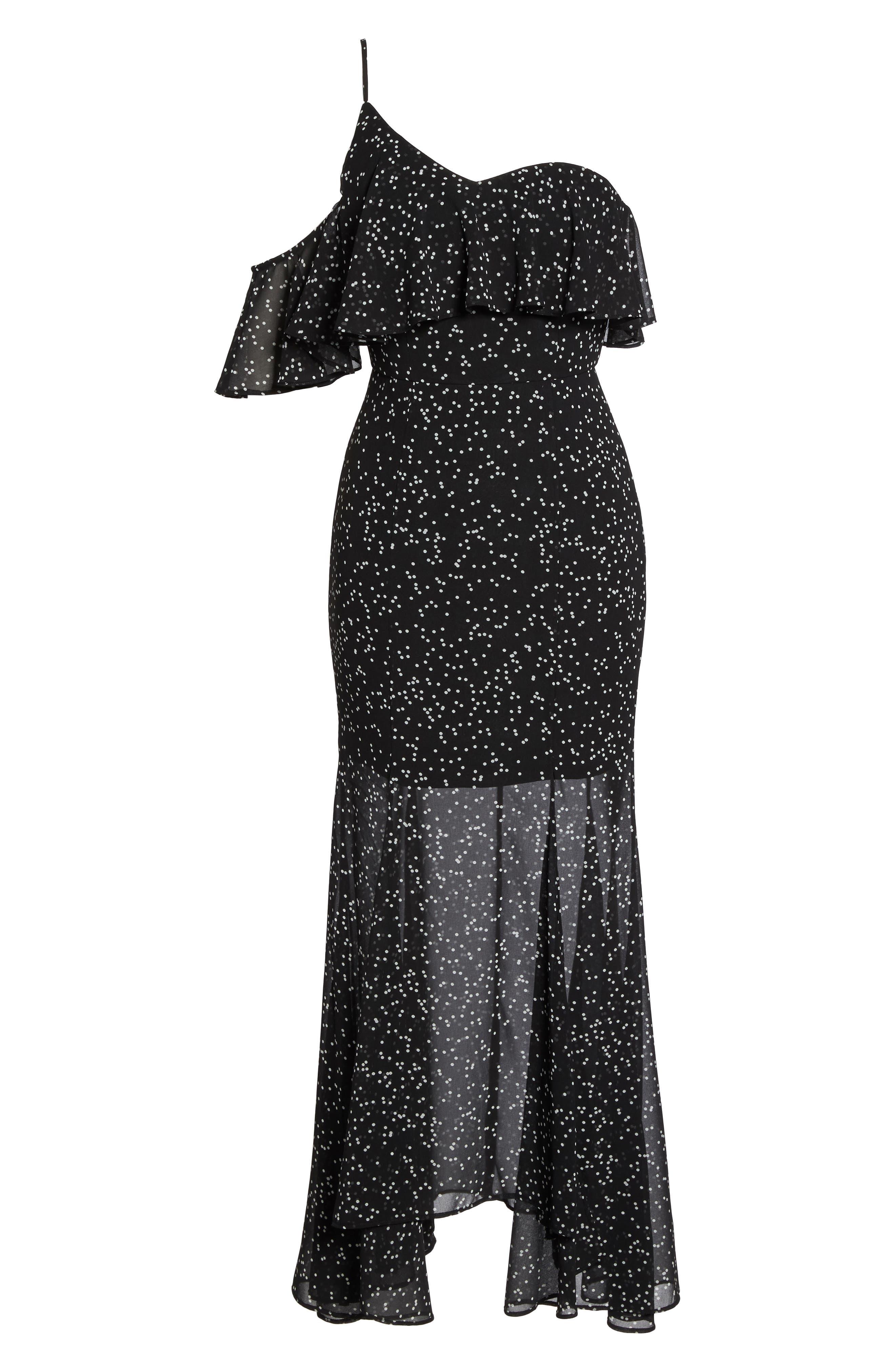 Embrace One Shoulder Dress,                             Alternate thumbnail 7, color,                             Black W White Spot