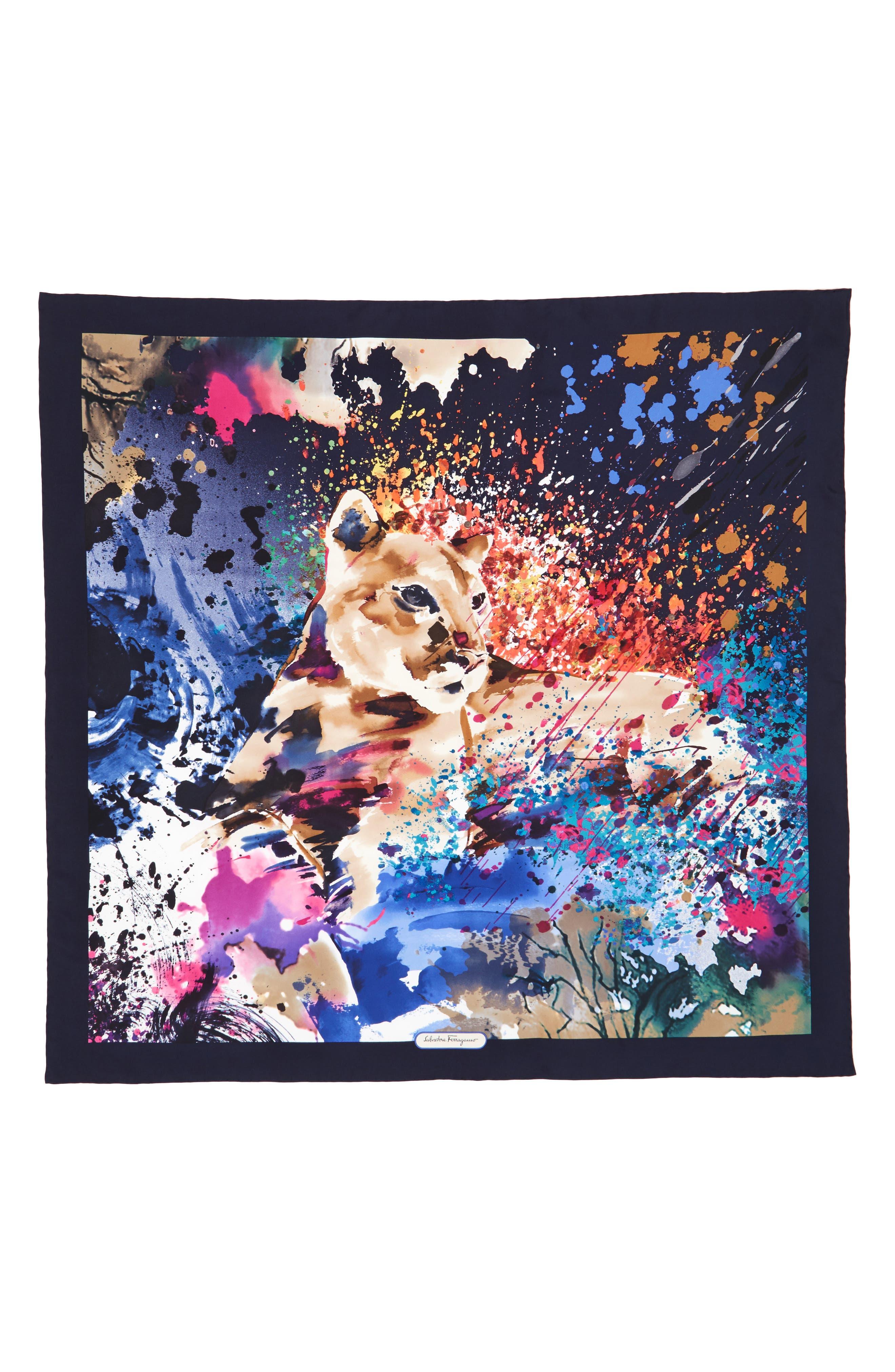Salvatore Ferragamo Fauna Iconic Feline Silk Scarf