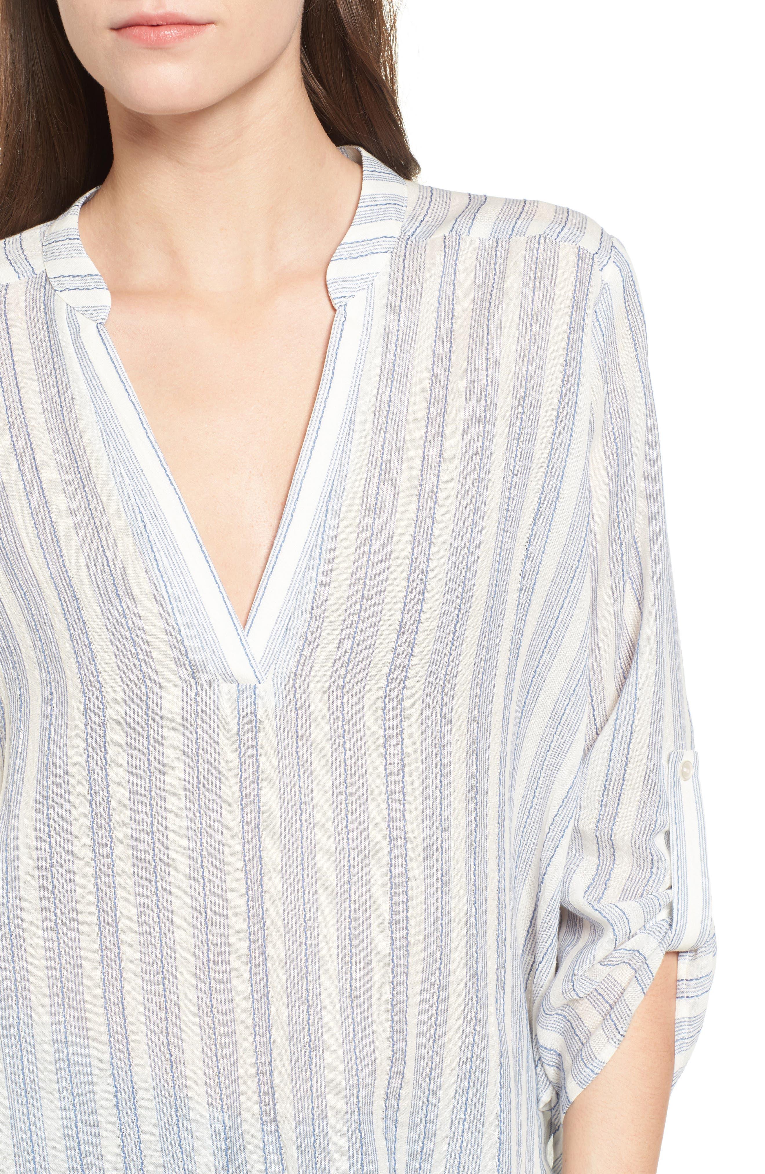 Stripe Cotton Split Neck Top,                             Alternate thumbnail 4, color,                             Blue/ White Stripe