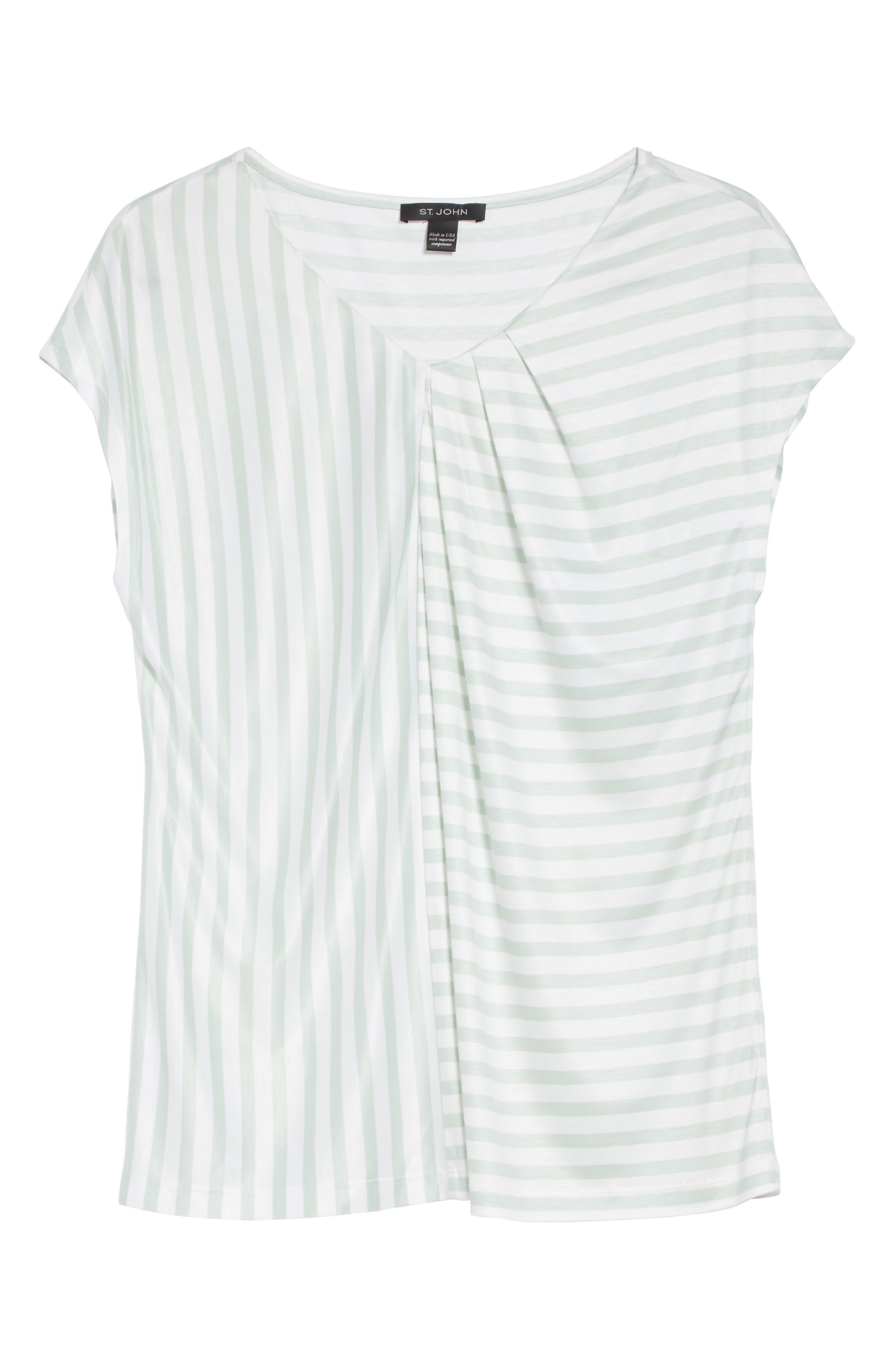Stripe Jersey Gathered Tee,                             Alternate thumbnail 7, color,                             Bianco/ Mint