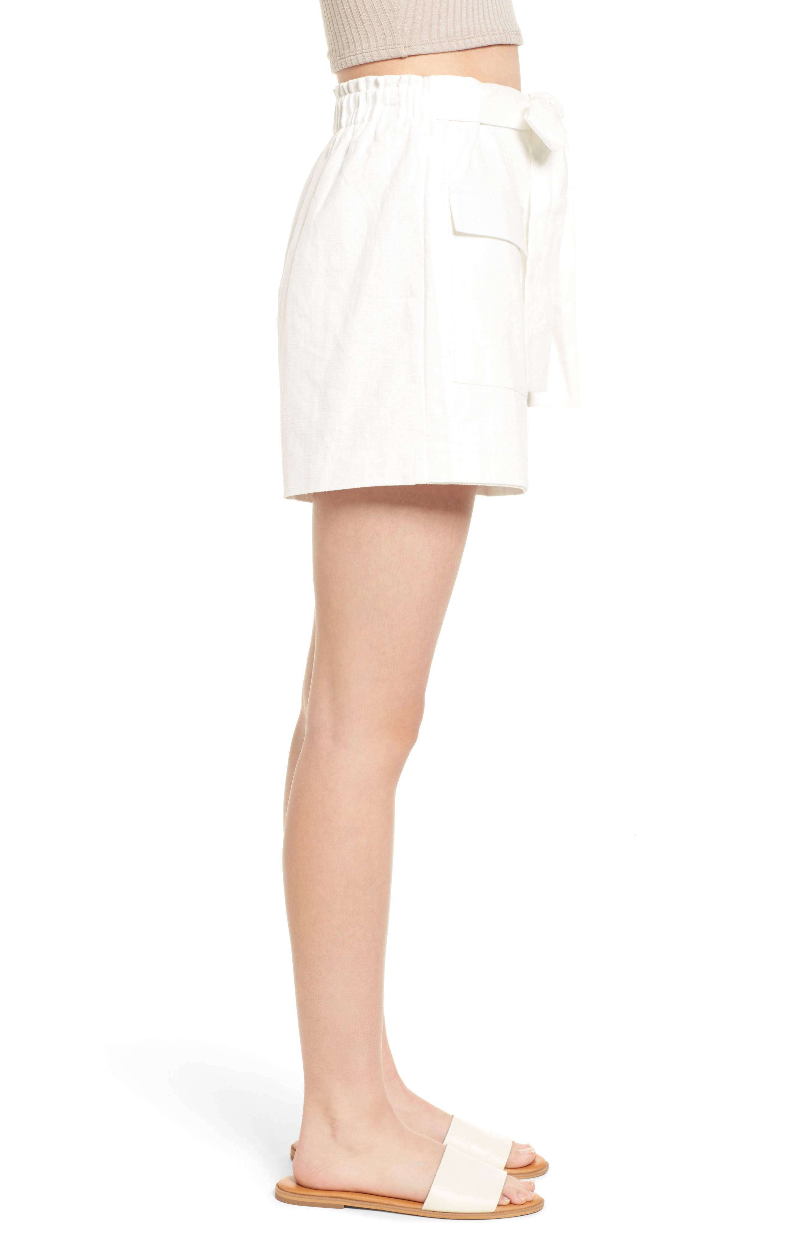 Tie Front Linen & Cotton Skort,                             Alternate thumbnail 4, color,                             White