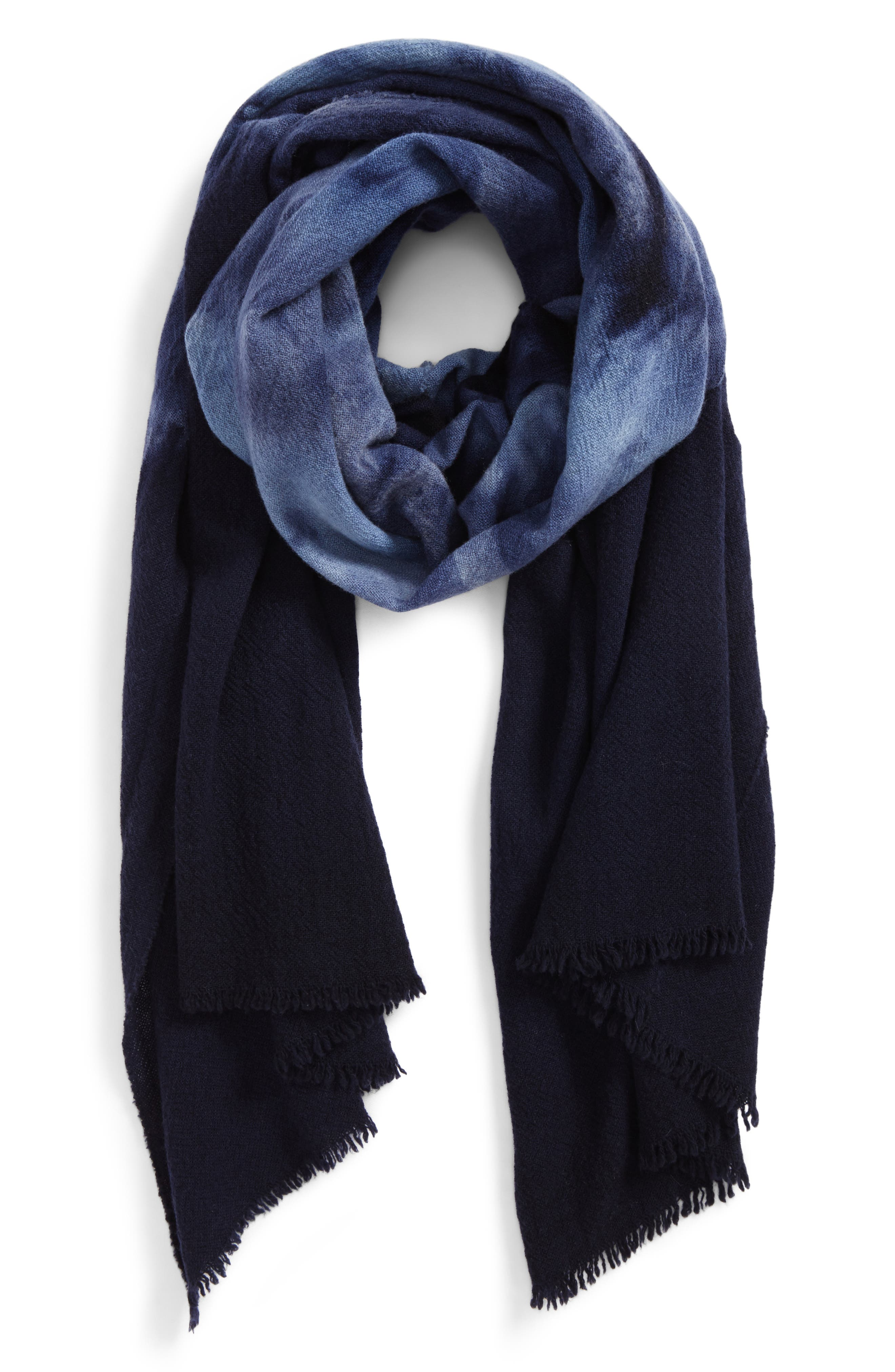 Tie Dye Wool Scarf,                             Main thumbnail 1, color,                             Navy