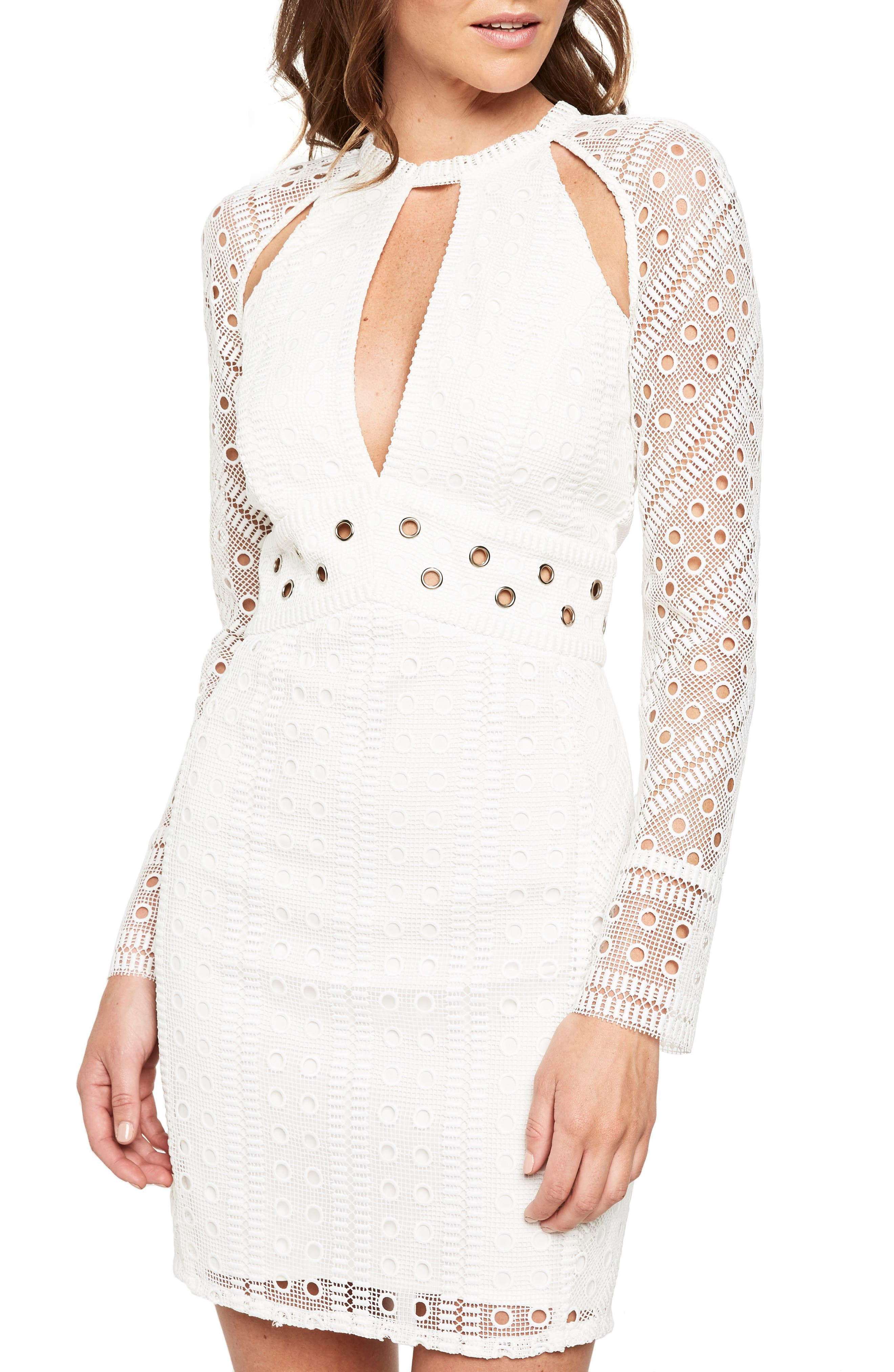 Grommet Detail Broderie Anglaise Dress,                         Main,                         color, Ivory