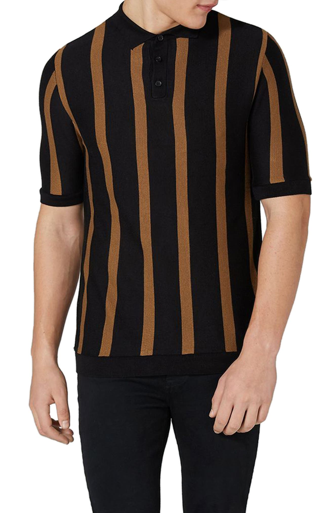 Topman Trim Fit Stripe Knit Polo