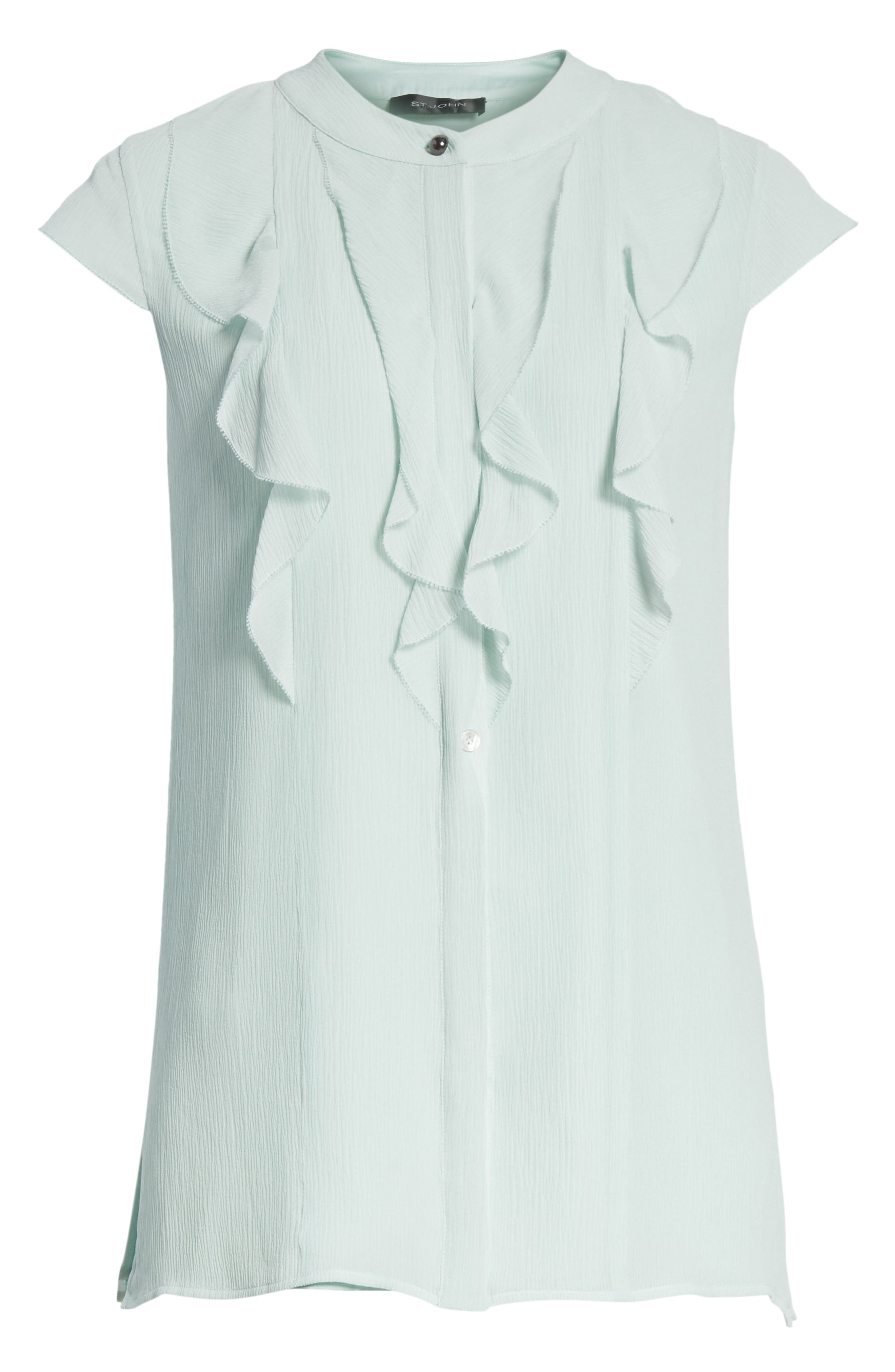 Alternate Image 6  - St. John Collection Crinkle Silk Georgette Blouse