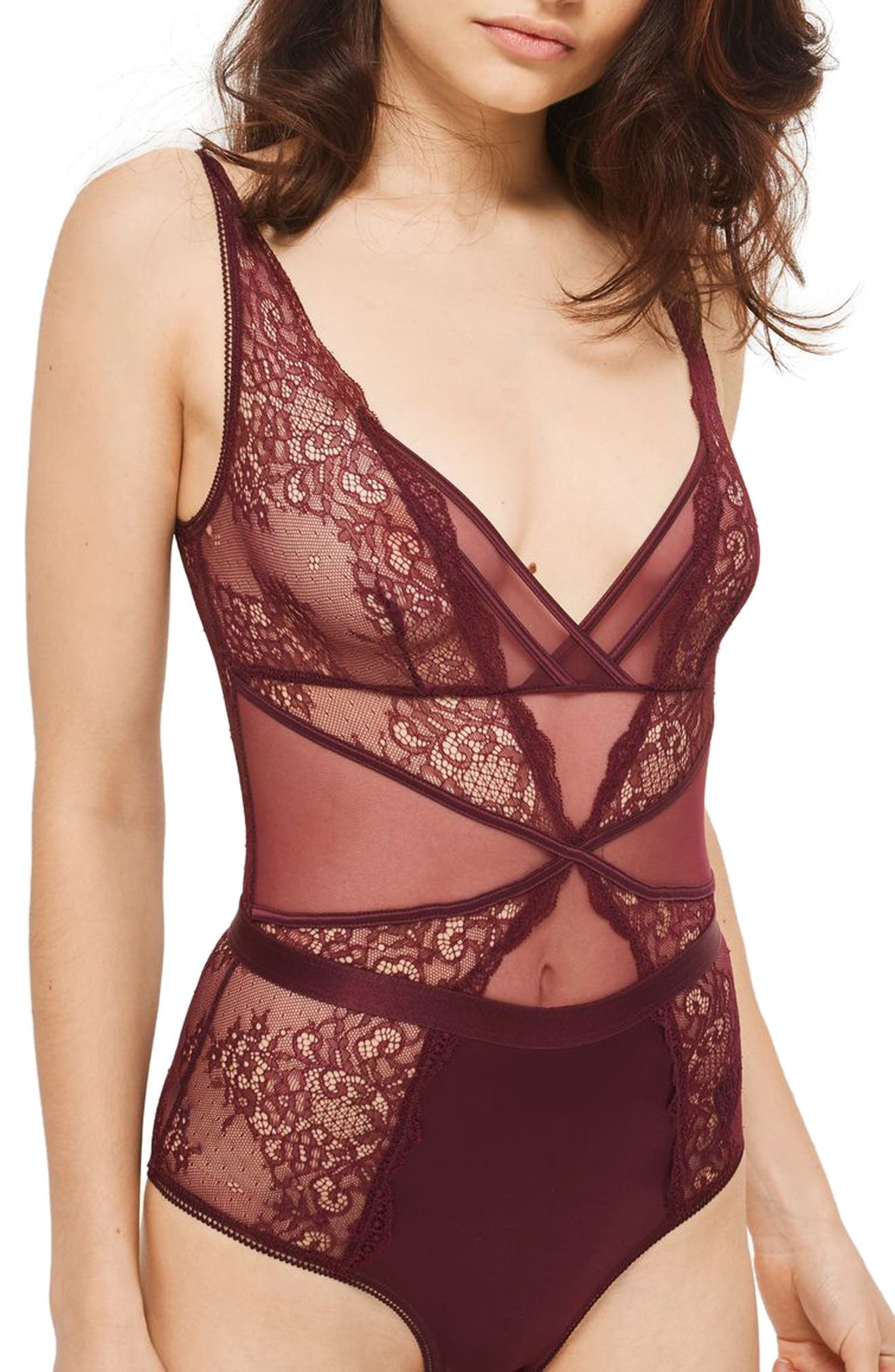 Lace Bodysuit,                         Main,                         color, Berry