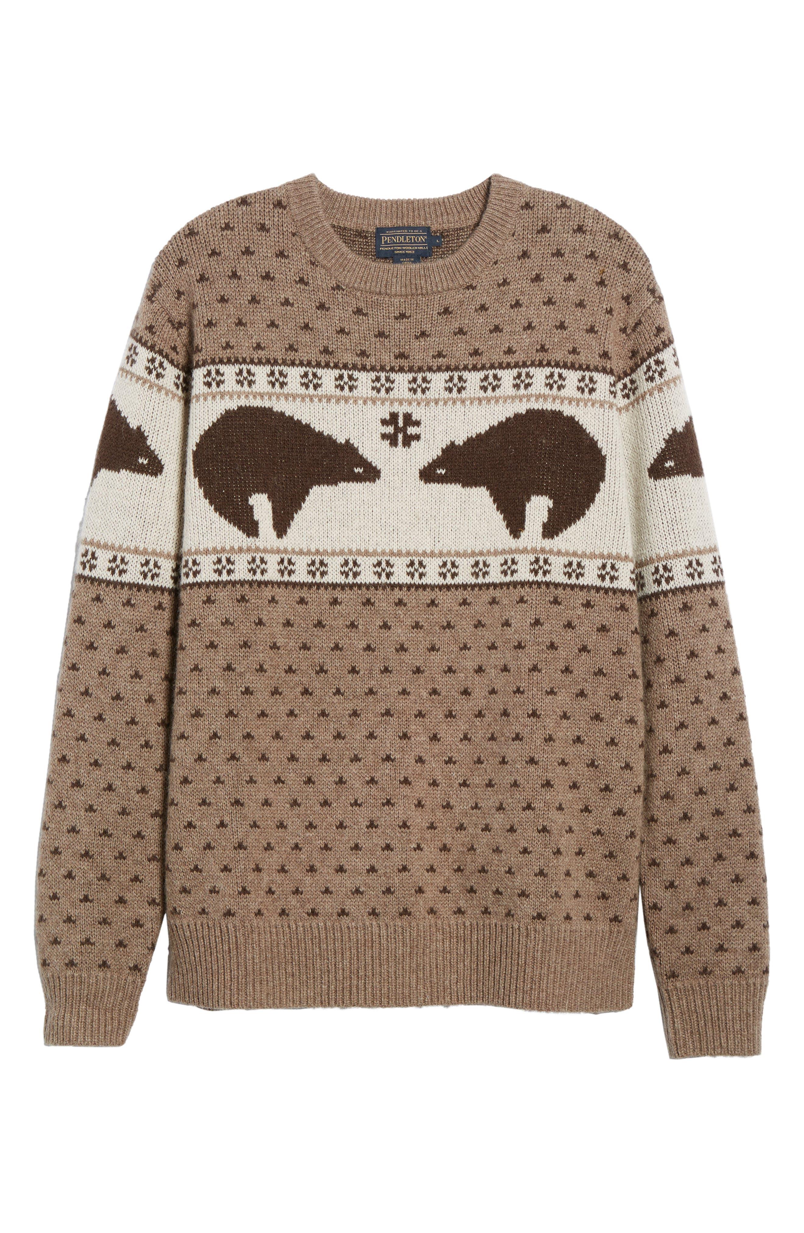 Bear Sweater,                             Alternate thumbnail 6, color,                             Brown/ Ivory Bear