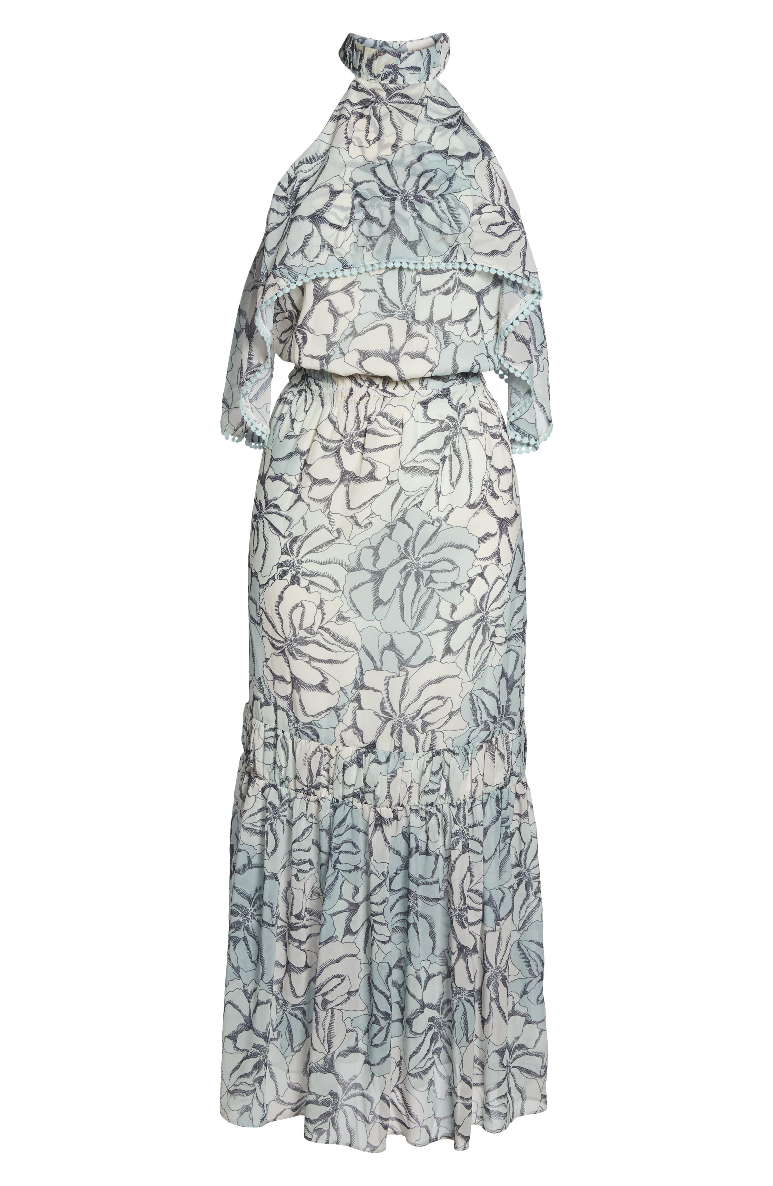 Alternate Image 6  - Foxiedox Amina Pompom Halter Tea Length Dress