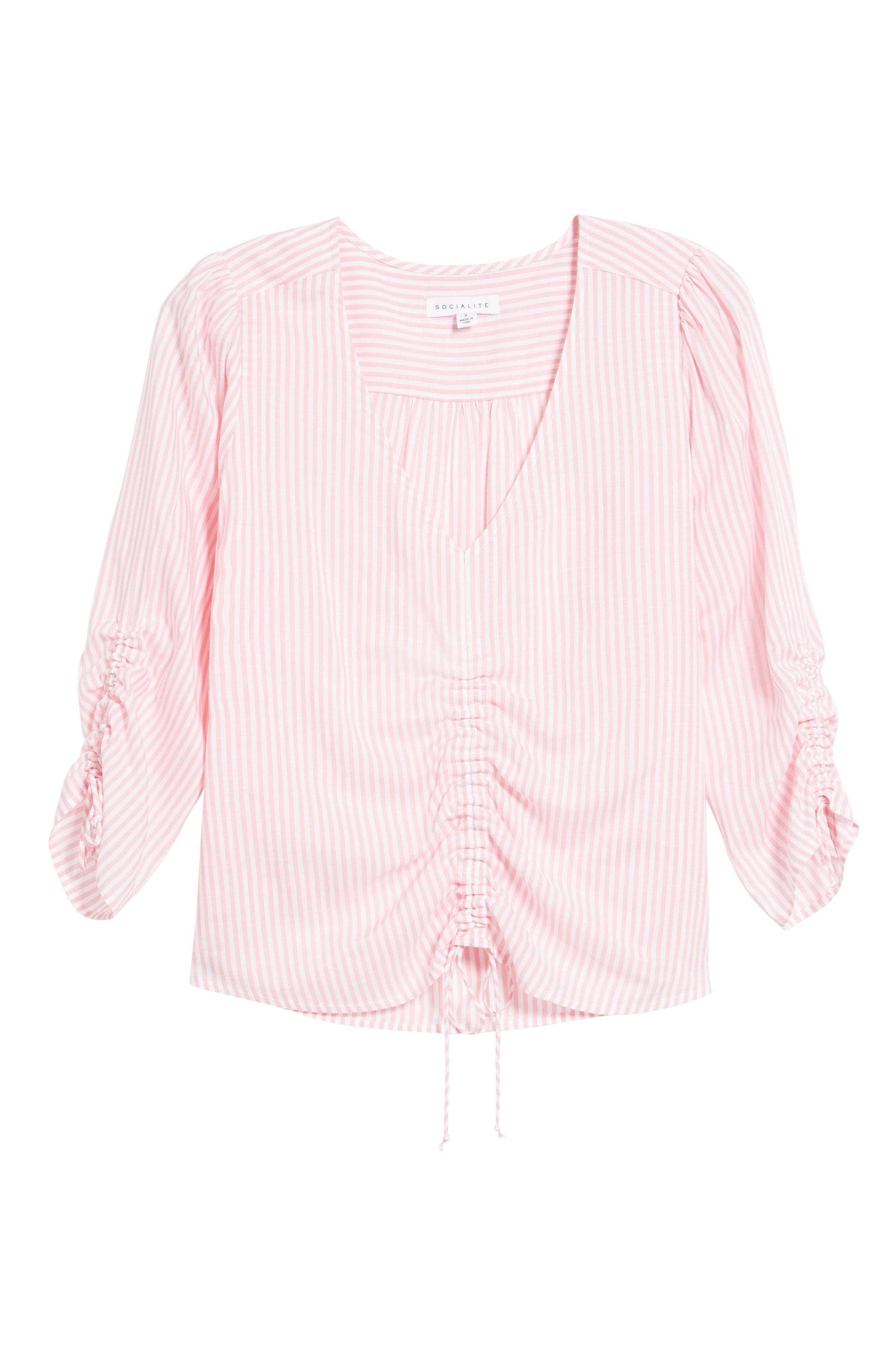 Stripe Cinched Front Top,                             Alternate thumbnail 6, color,                             Pink Stripe