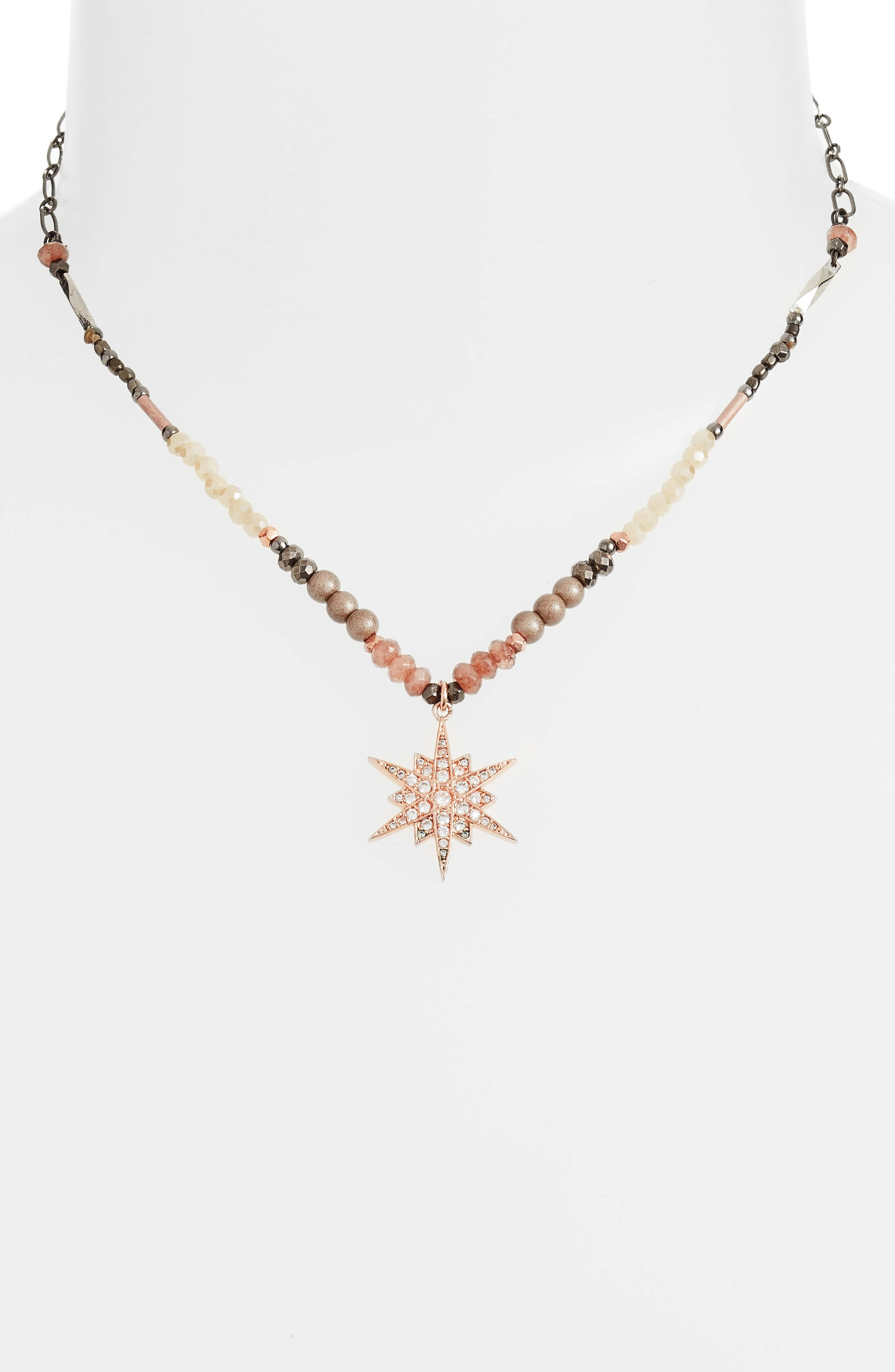 Star Pendant Beaded Necklace,                             Alternate thumbnail 2, color,                             Nude