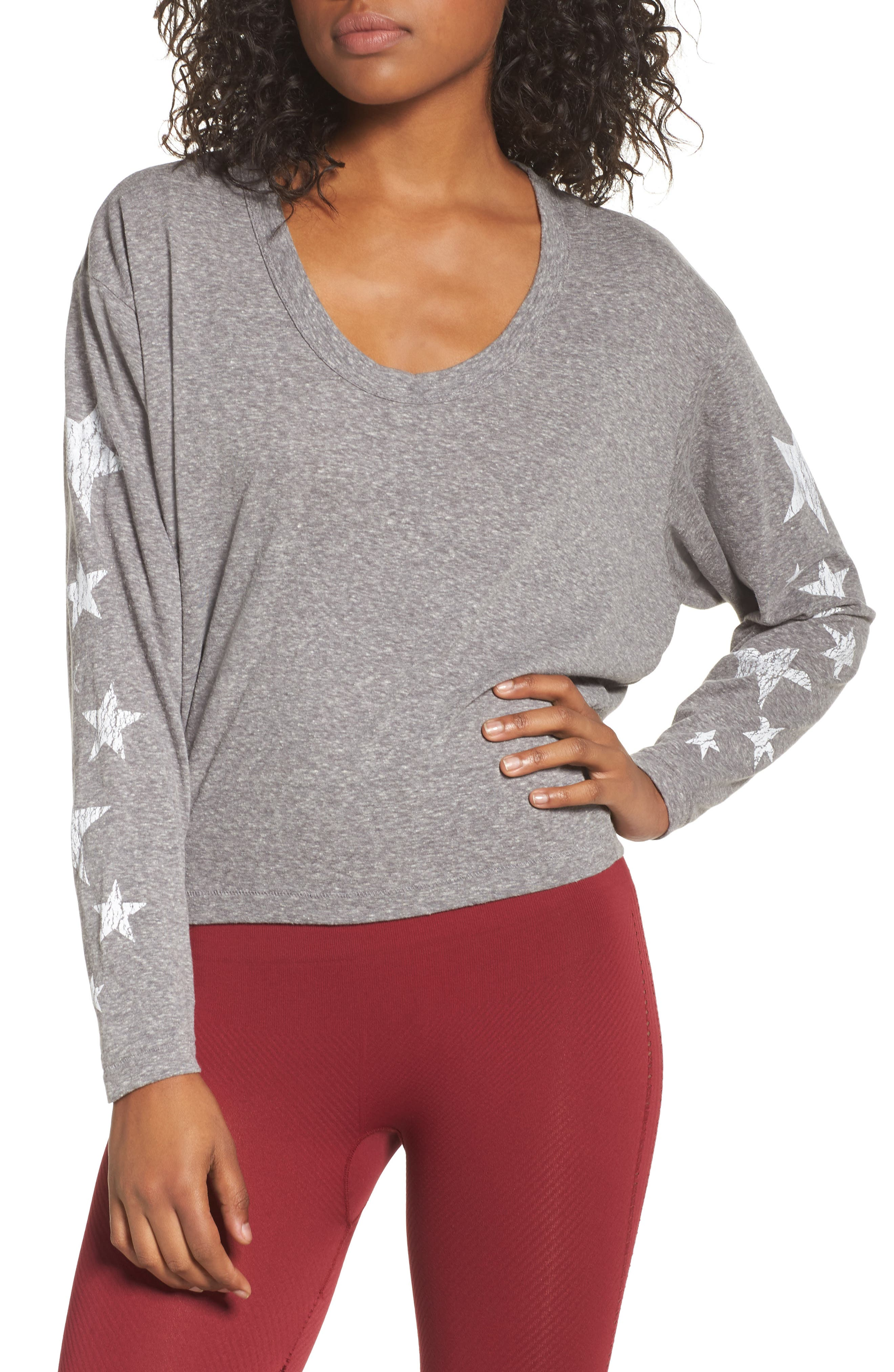 Free People Melrose Star Graphic Top,                             Main thumbnail 1, color,                             Grey