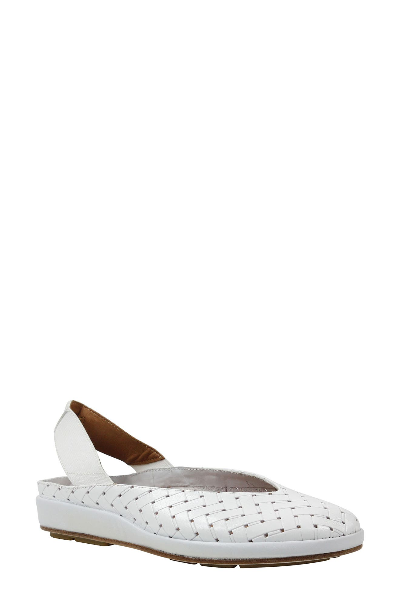 'Cypris' Slingback Wedge,                             Main thumbnail 1, color,                             White Leather