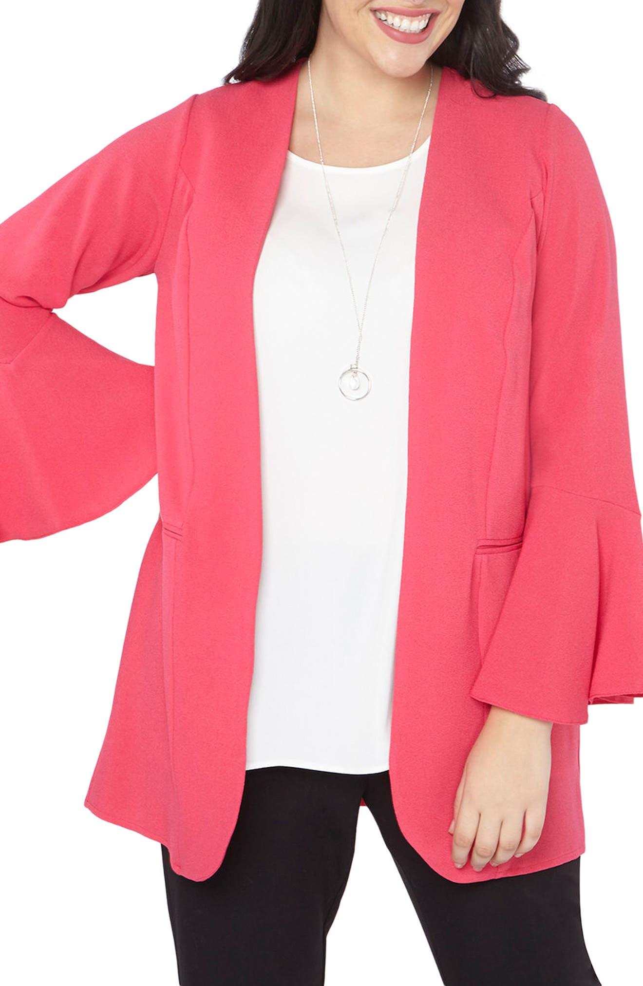 Ruffle Sleeve Jacket,                         Main,                         color, Hot Pink