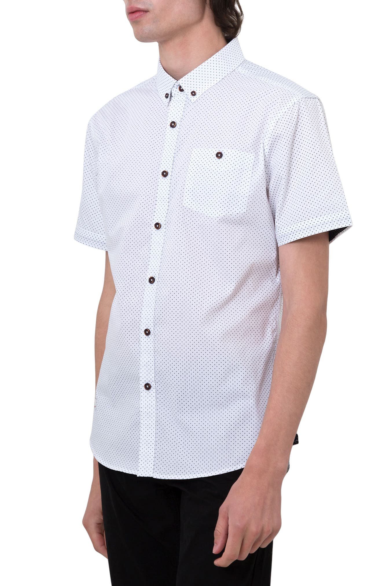Move On Microprint Woven Shirt,                             Alternate thumbnail 3, color,                             White