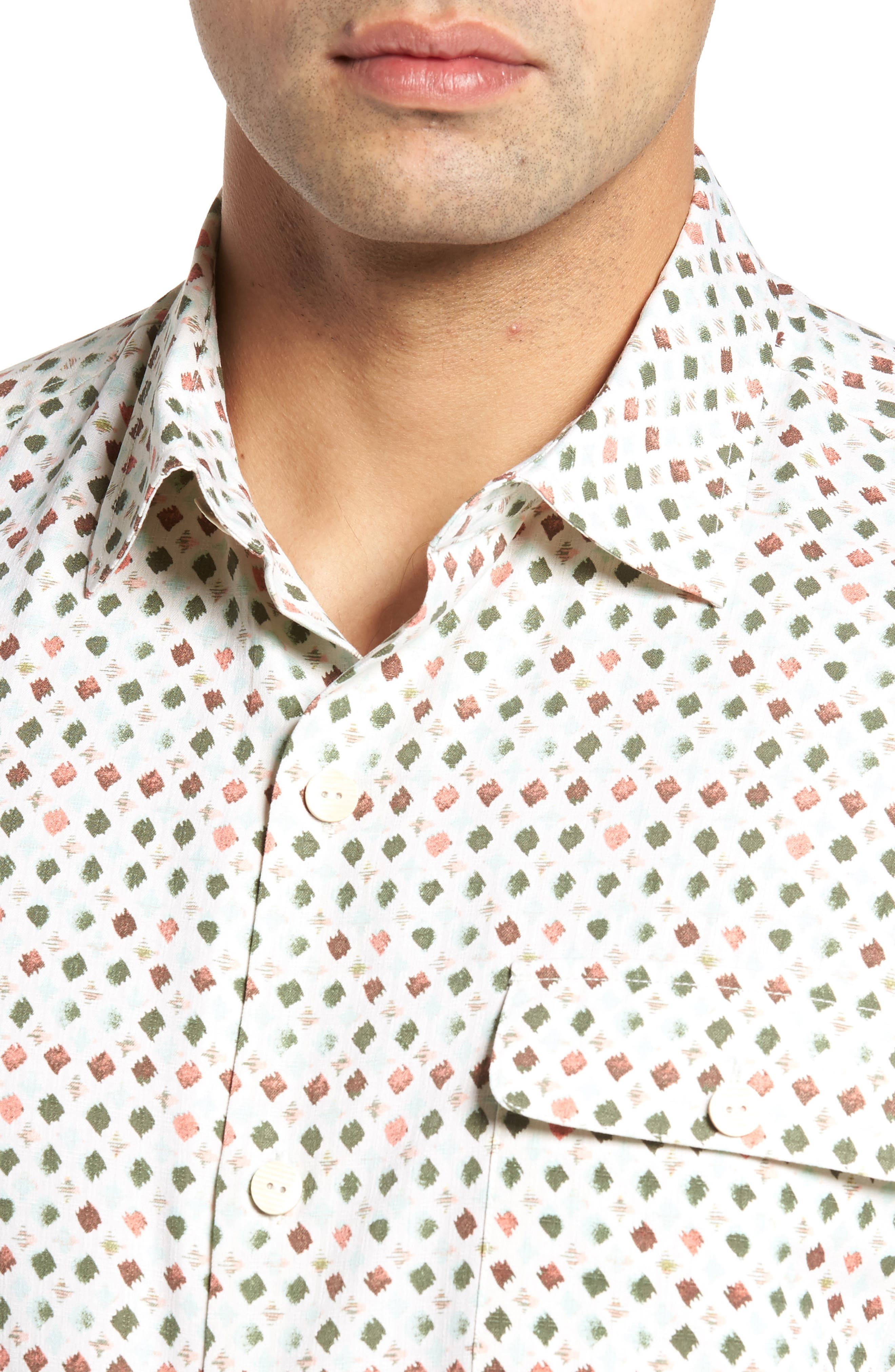 Atomic Geo Print Silk Sport Shirt,                             Alternate thumbnail 4, color,                             Coconut Cream