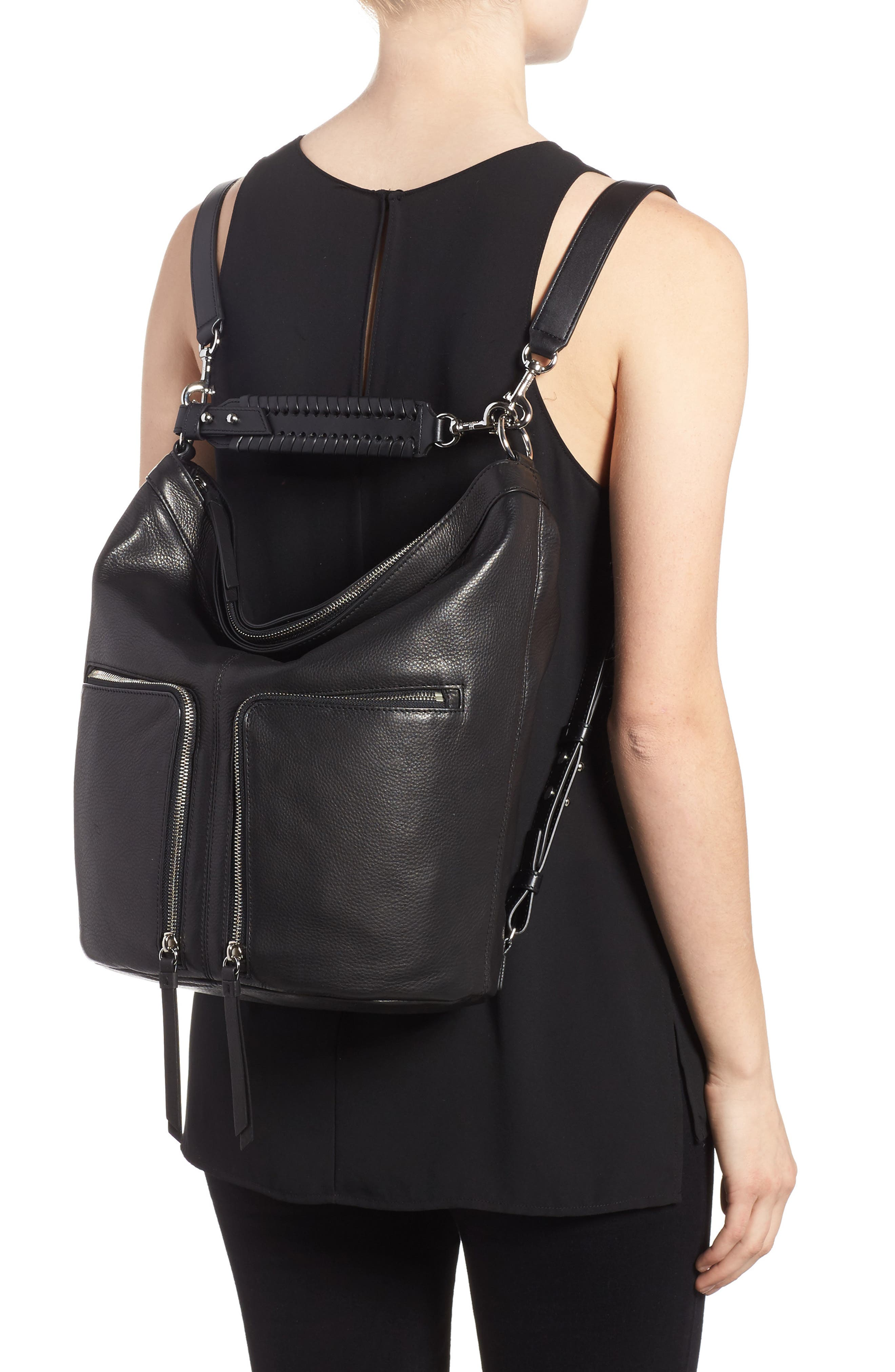 Fetch Leather Backpack,                             Alternate thumbnail 2, color,                             Black
