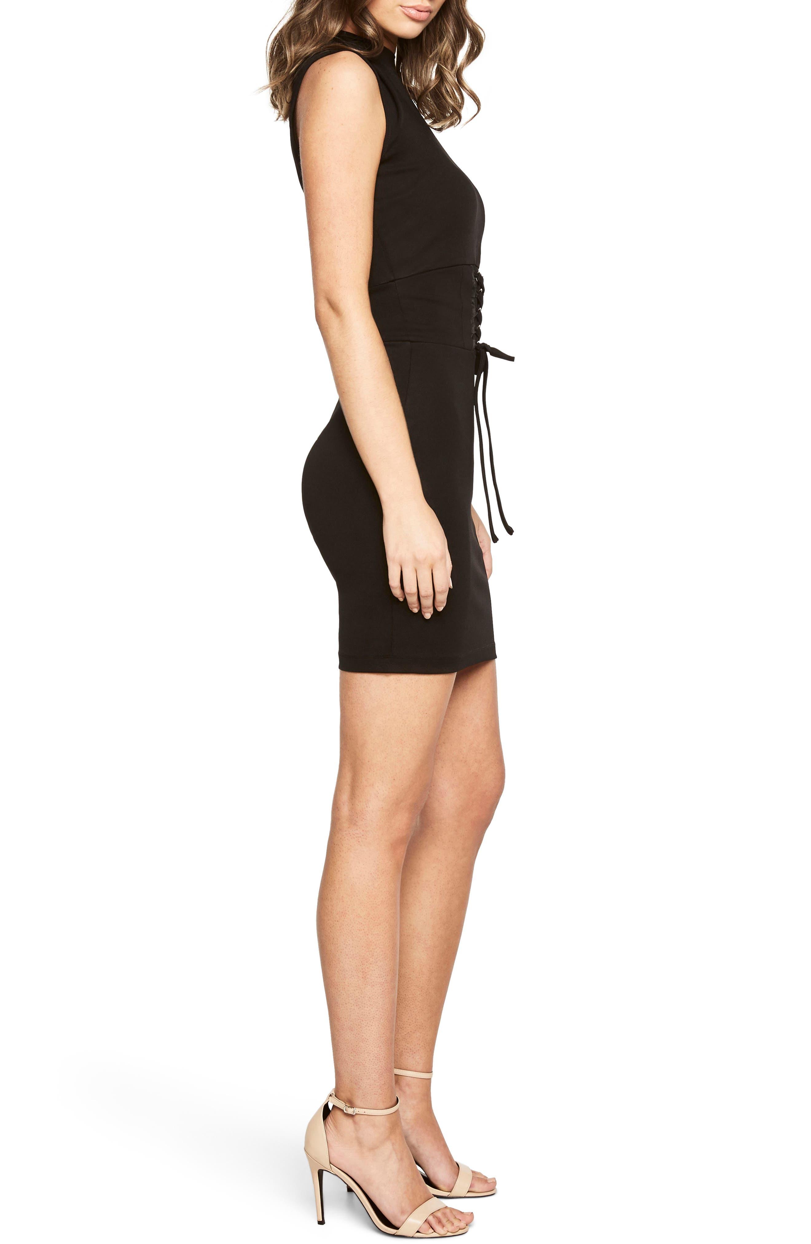 Mila Corset Body-Con Dress,                             Alternate thumbnail 3, color,                             Black