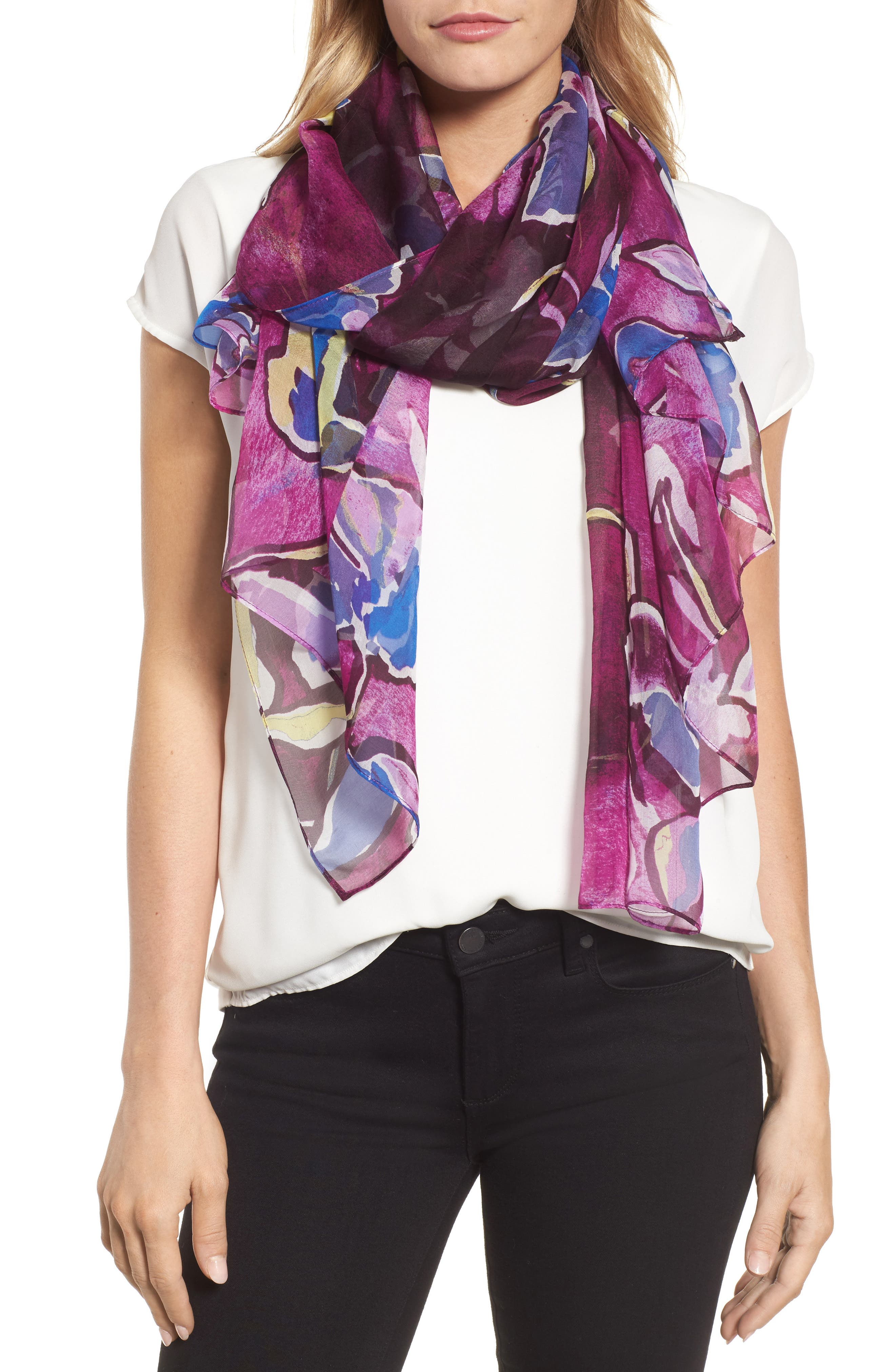 Silk Chiffon Oblong Scarf,                             Main thumbnail 1, color,                             Purple Textured Blooms