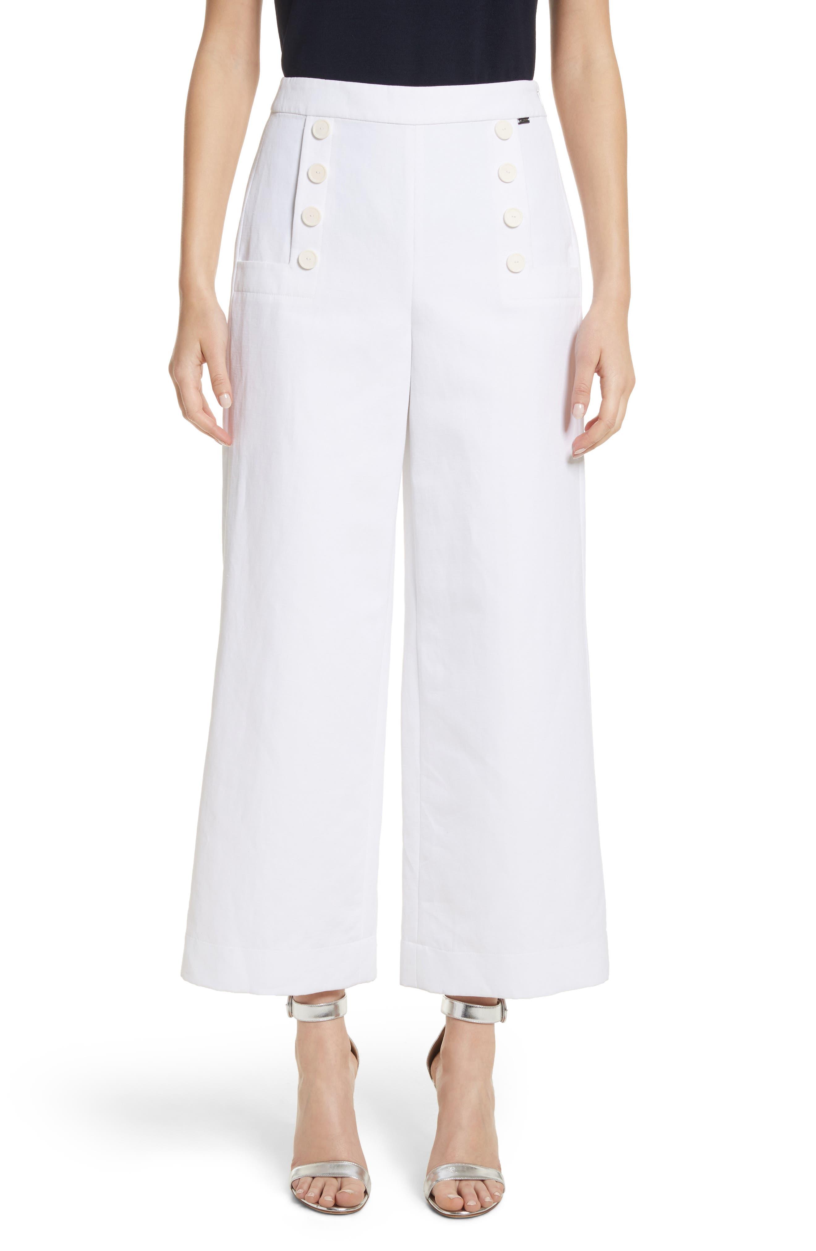 Cotton & Linen Crop Wide Leg Pants,                             Main thumbnail 1, color,                             Bianco
