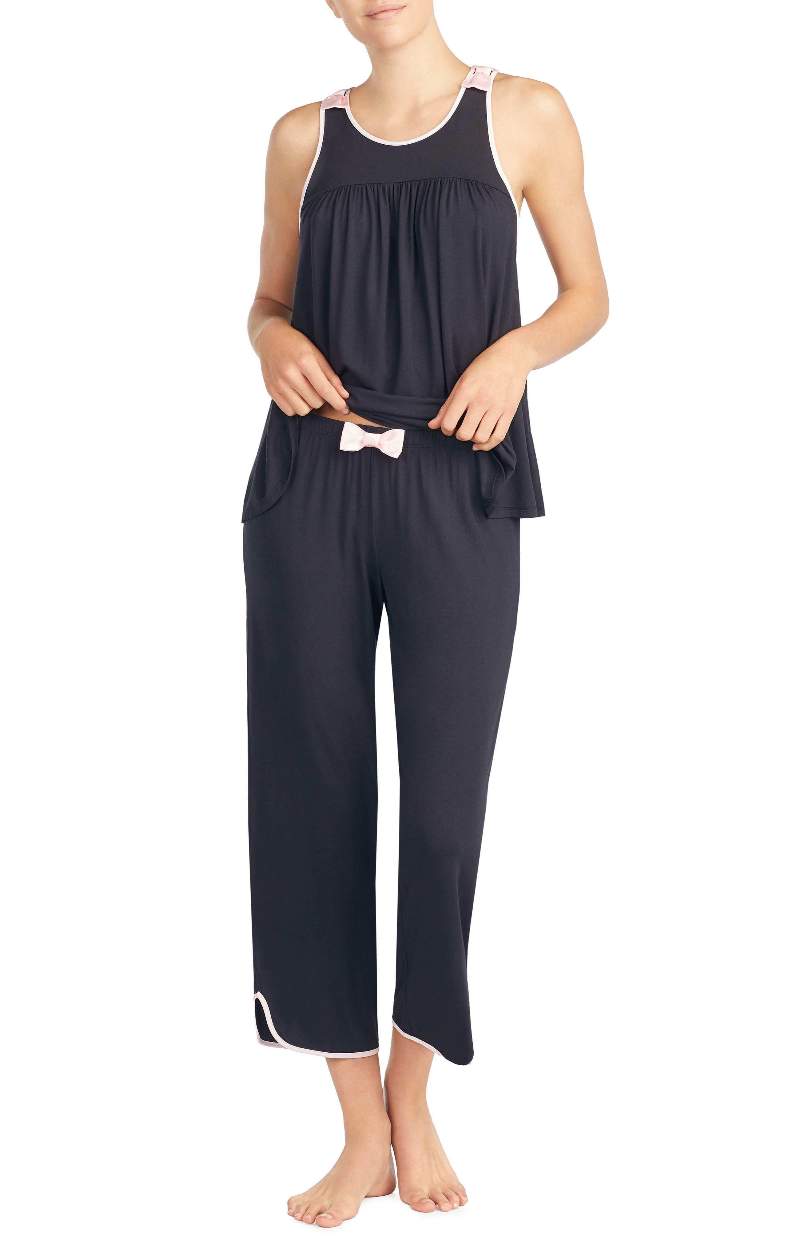 crop jersey pajamas,                             Alternate thumbnail 4, color,                             Black