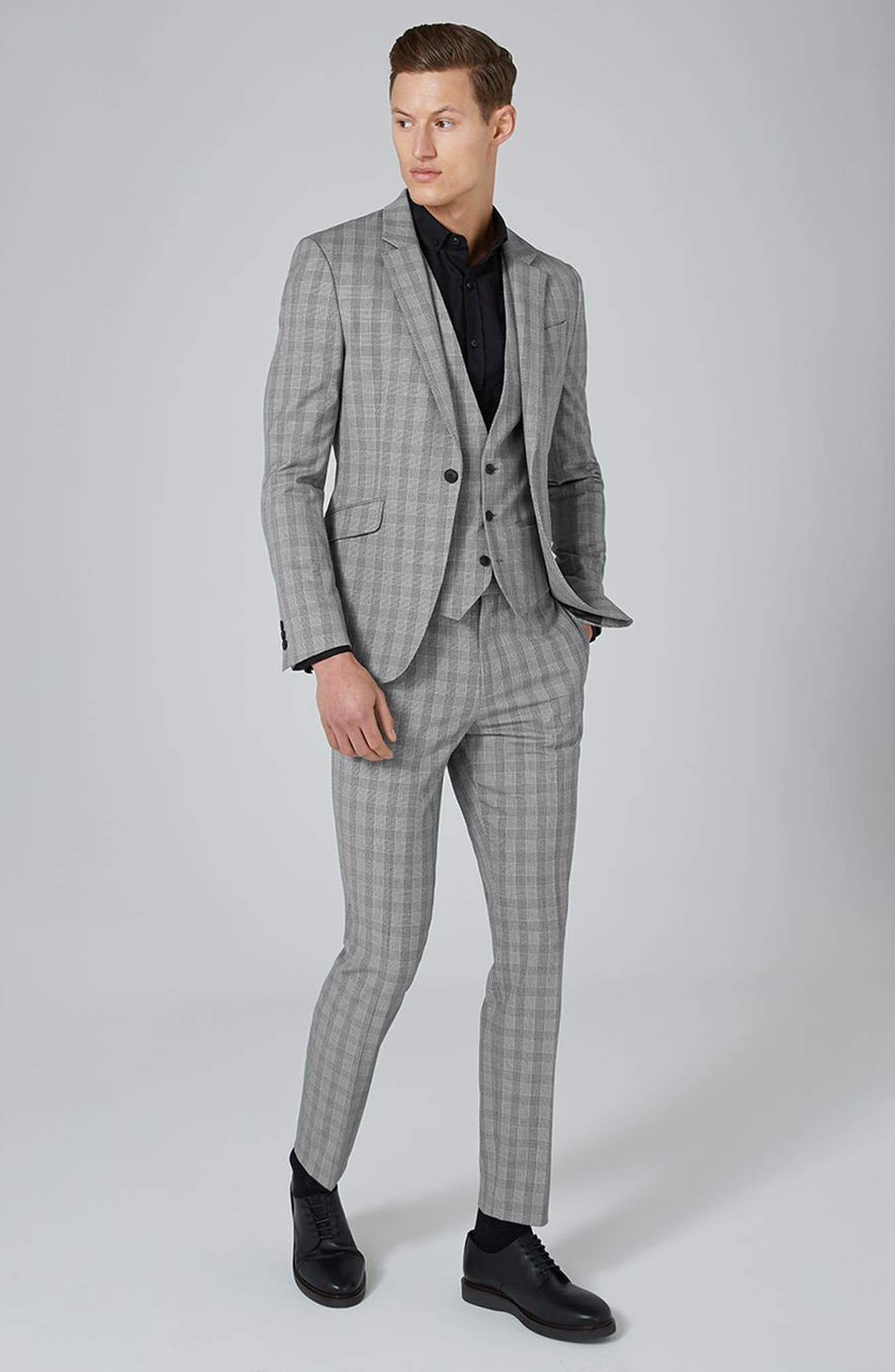 Alternate Image 2  - Topman Muscle Fit Check Suit Jacket