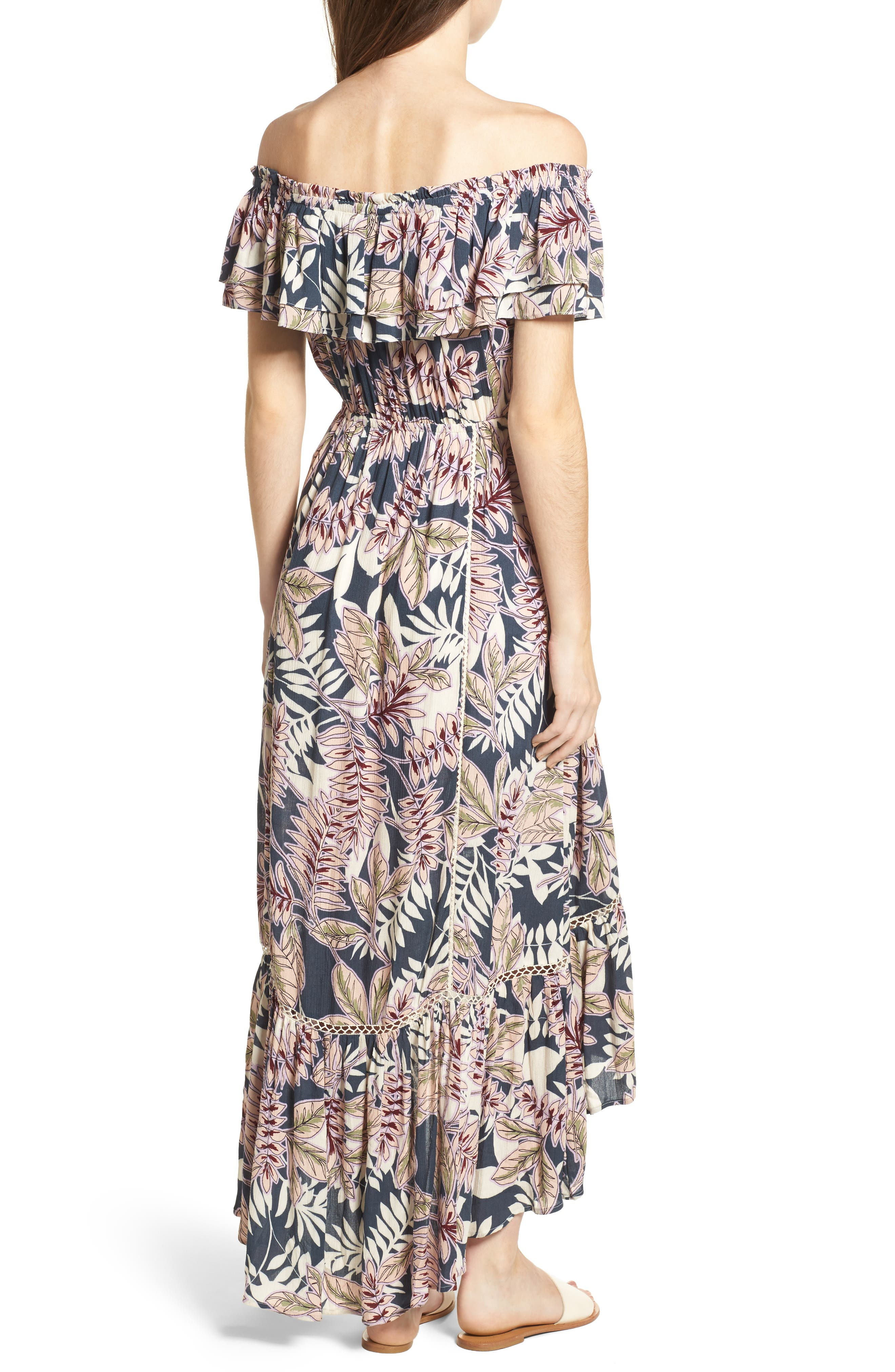 Alternate Image 2  - Lost + Wander Maui Off the Shoulder High/Low Maxi Dress