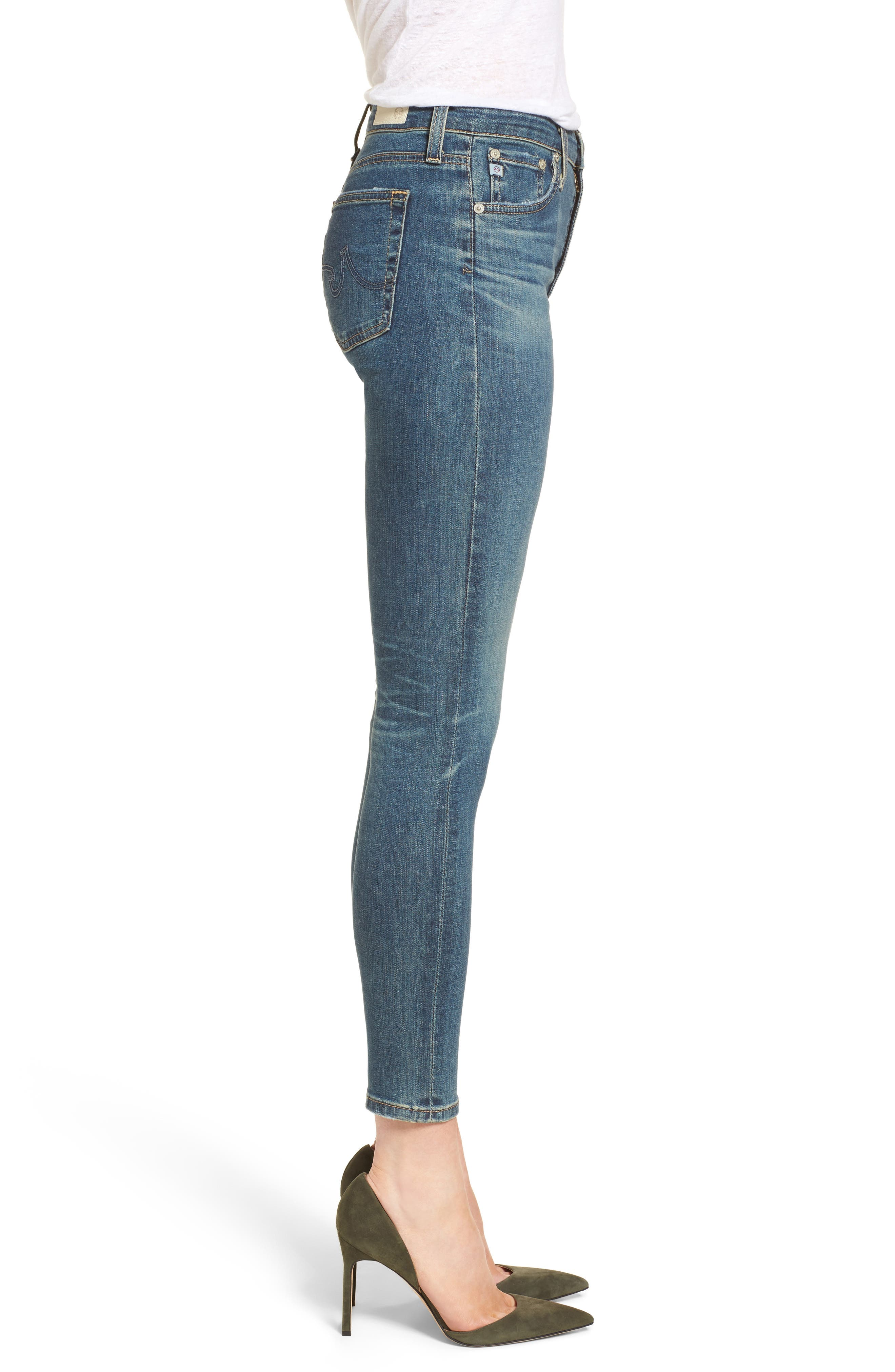 Alternate Image 3  - AG The Farrah High Waist Ankle Skinny Jeans (10 Years Brewed)