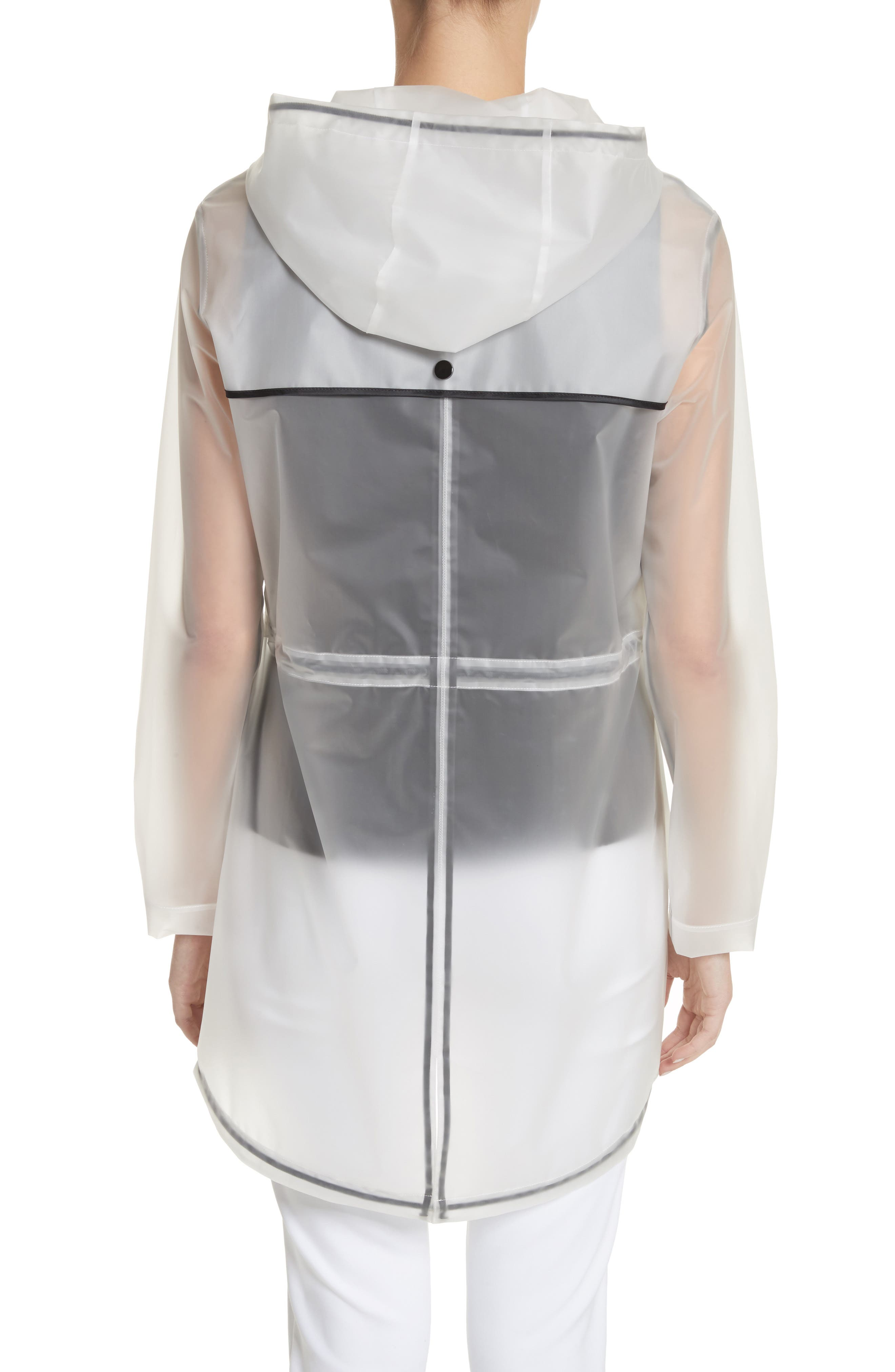 Clear Hooded Raincoat,                             Alternate thumbnail 2, color,                             White